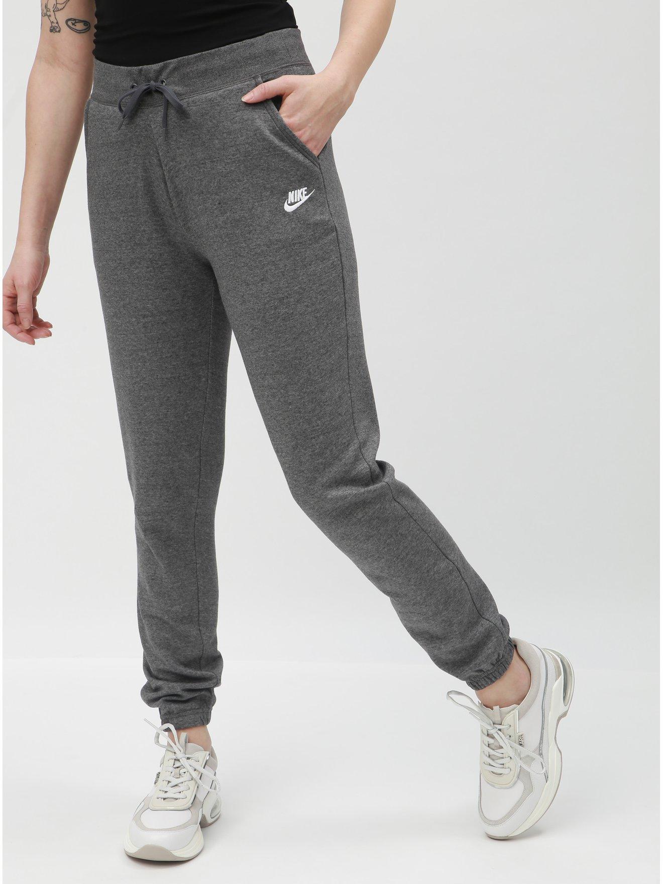 Šedé dámské žíhané tepláky Nike 778b2c5f45