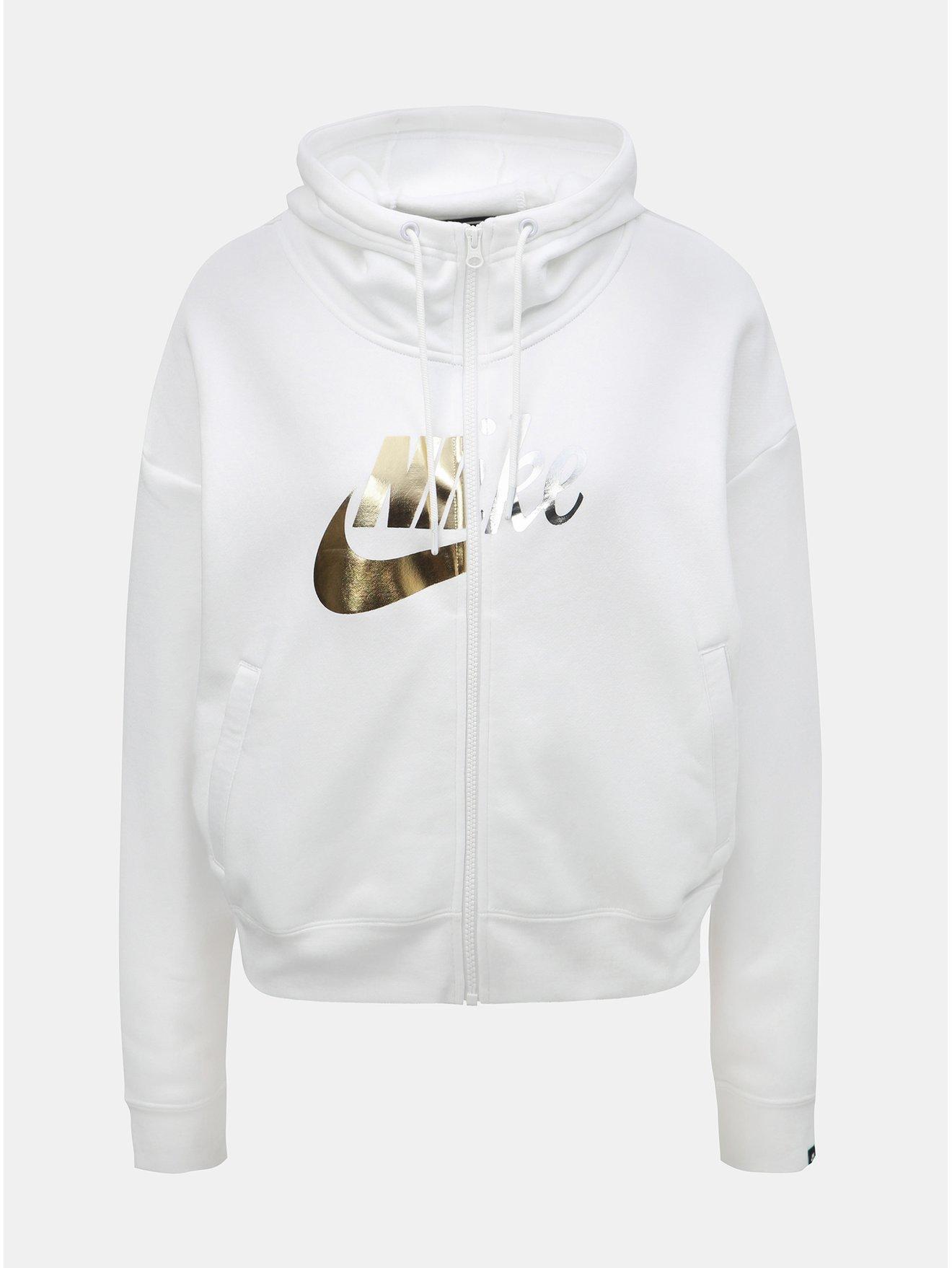 93f738d313 Bílá dámská oversize mikina s potiskem Nike