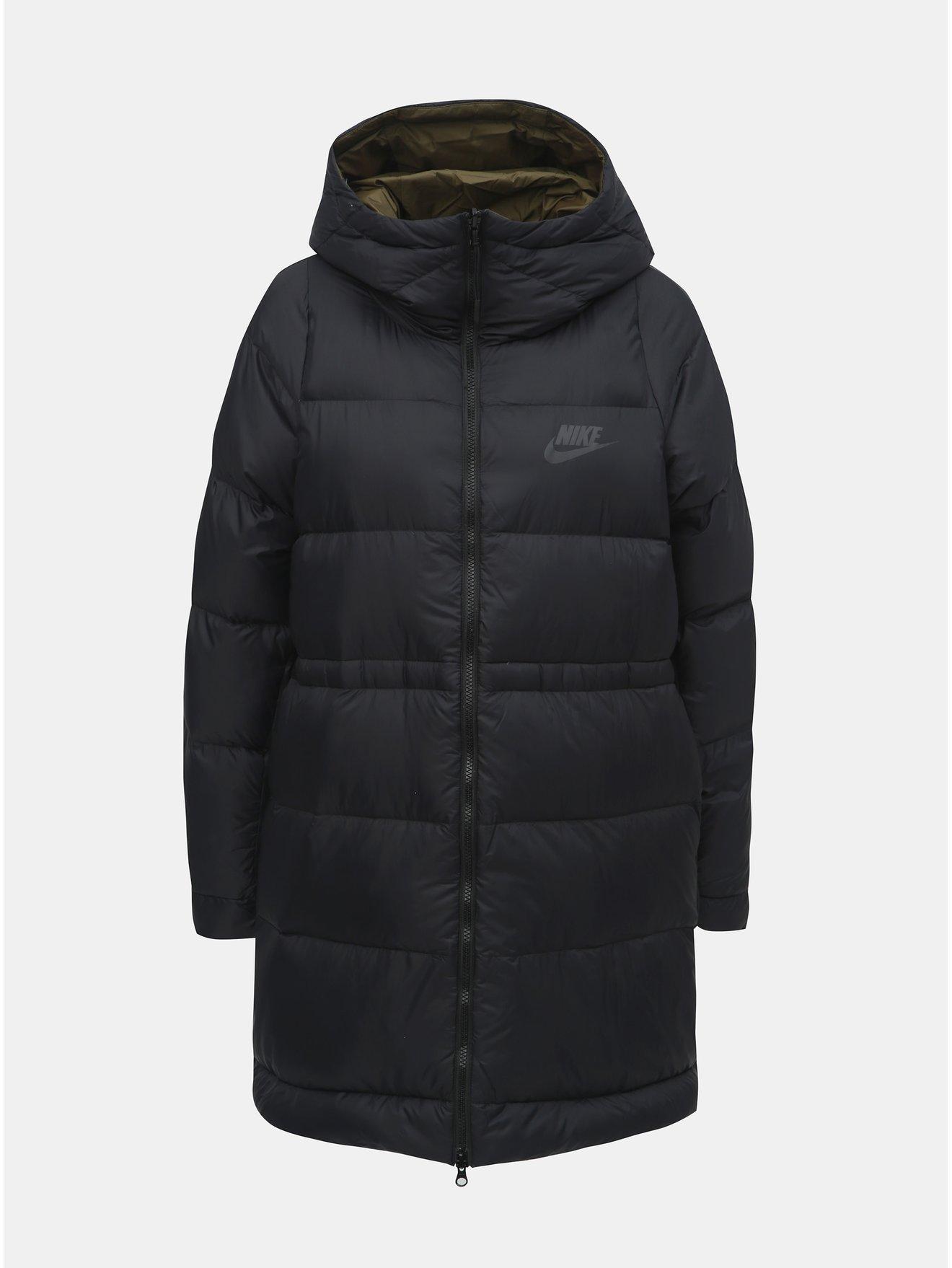 Černý dámský péřový oboustranný kabát Nike