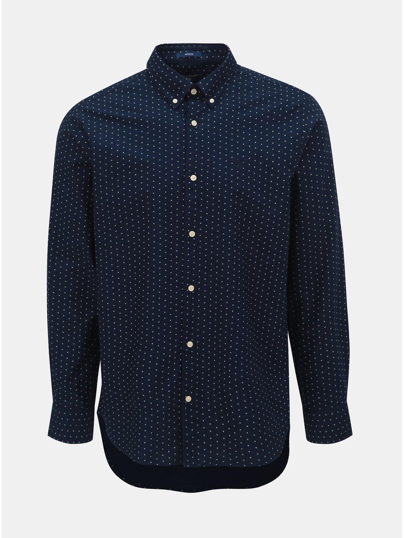 Tmavě modrá pánská vzorovaná regular fit košile GANT 24bf7905a8