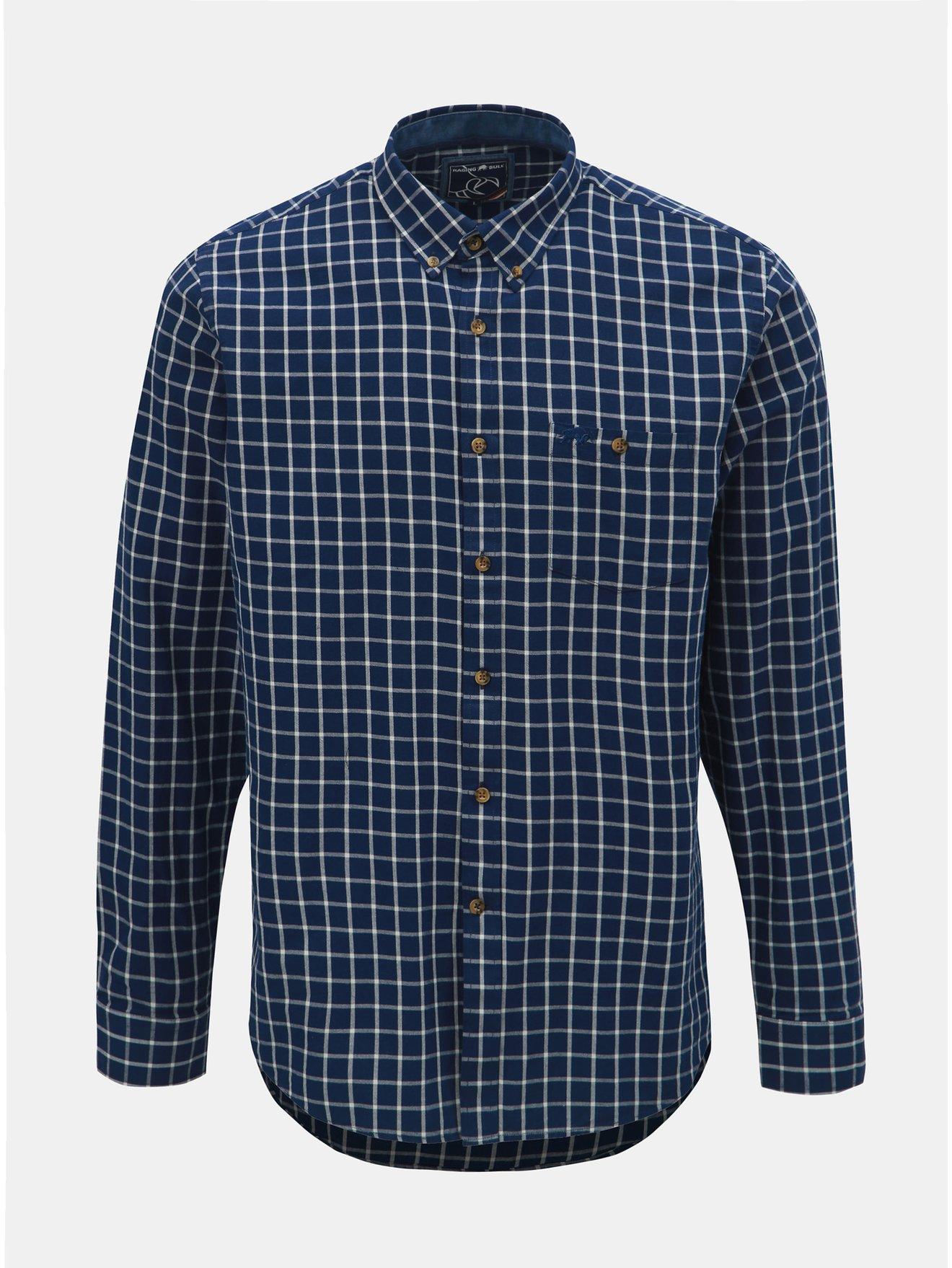 Tmavě modrá kostkovaná košile Raging Bull 640e08c8fe