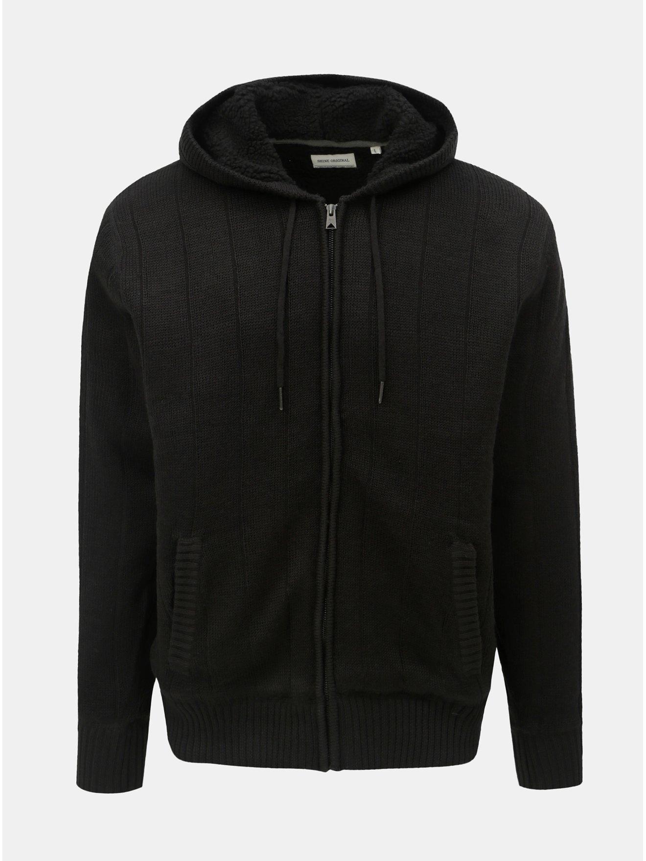 62184611bf5 Černý svetr na zip s kapucí a umělým kožíškem Shine Original Boa