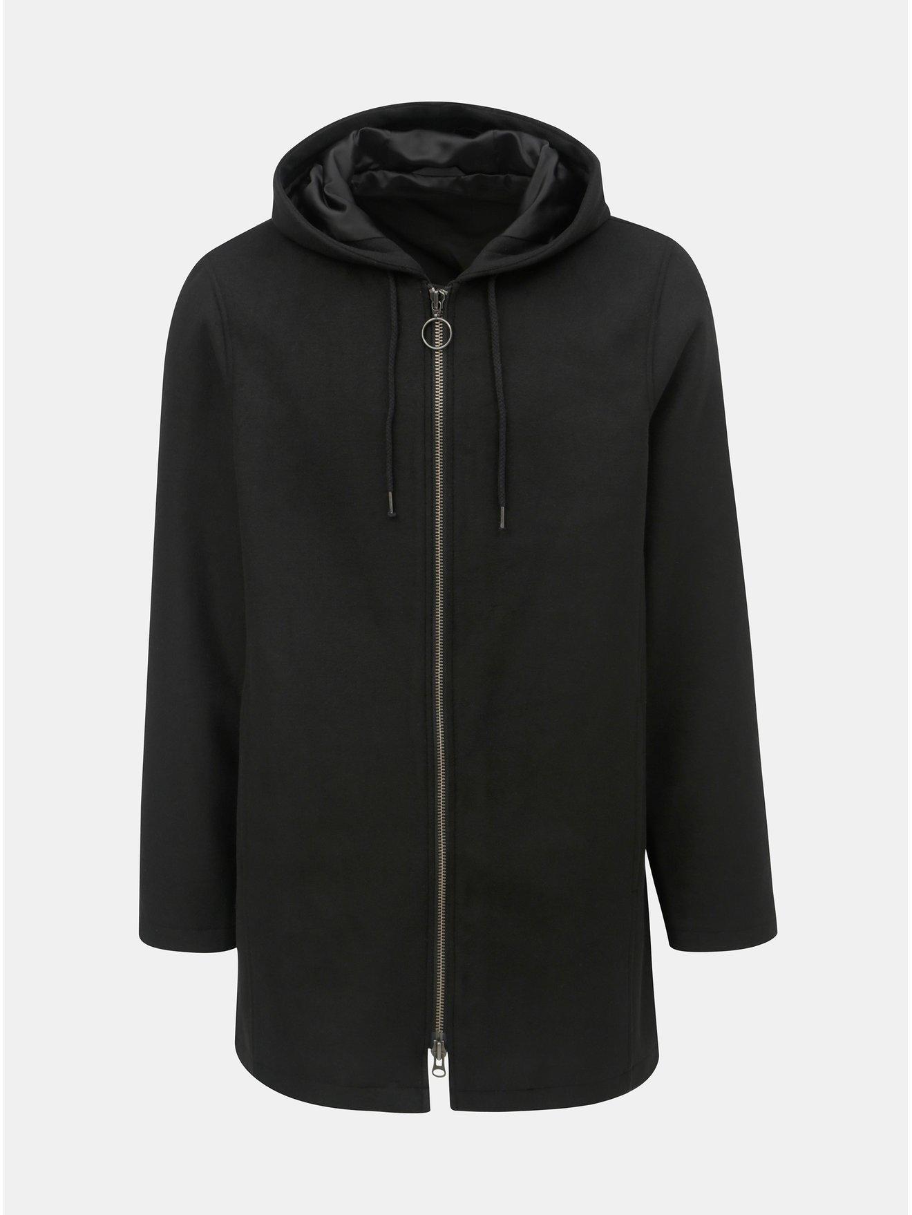 Černý kabát s kapucí a s příměsí vlny Shine Original