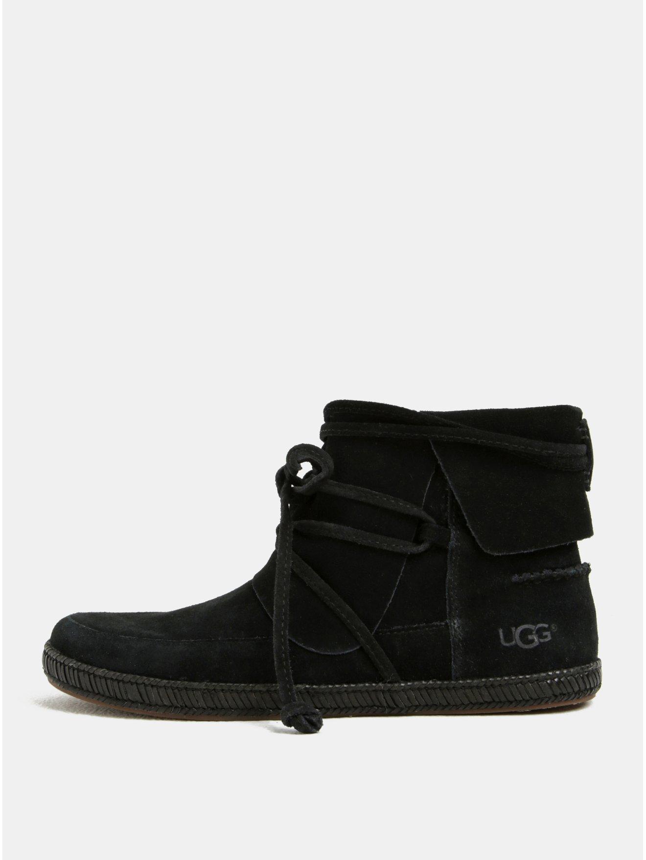 70b4b9cf359 Černé semišové kotníkové zimní voděodolné boty UGG Reid