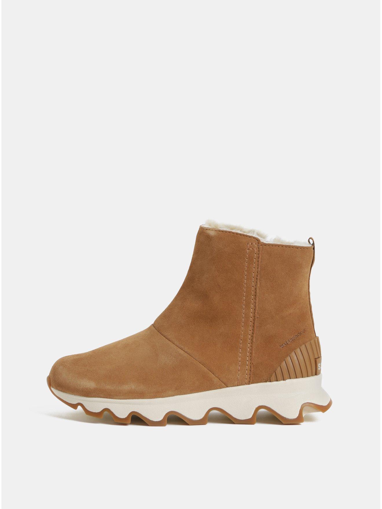 0a57a8d2e7d Hnědé dámské zimní kotníkové voděodolné boty v semišové úpravě SOREL Kinetic