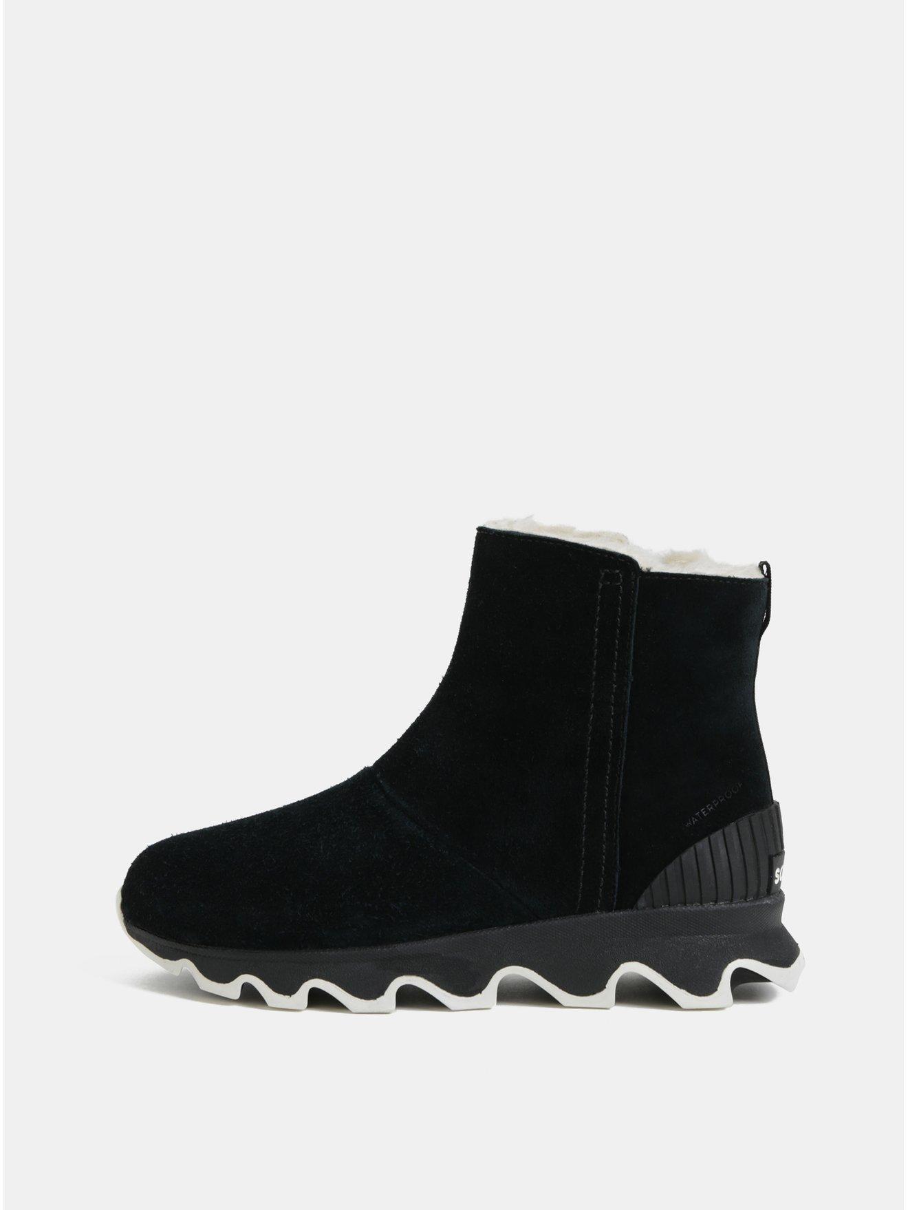 Černé dámské zimní kotníkové voděodolné boty v semišové úpravě SOREL Kinetic 1656534085