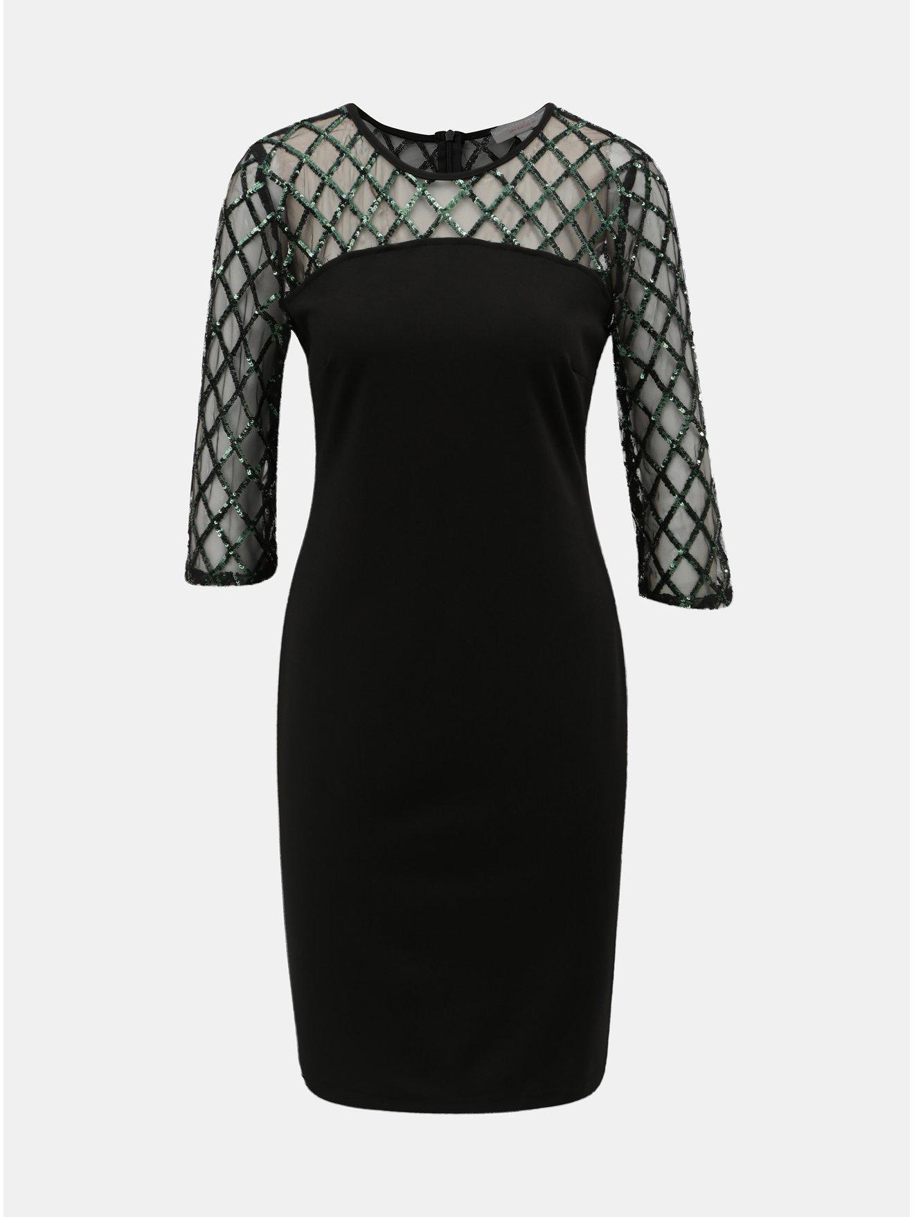 Černé pouzdrové šaty s flitry Dorothy Perkins Petite 3915a6fb4f