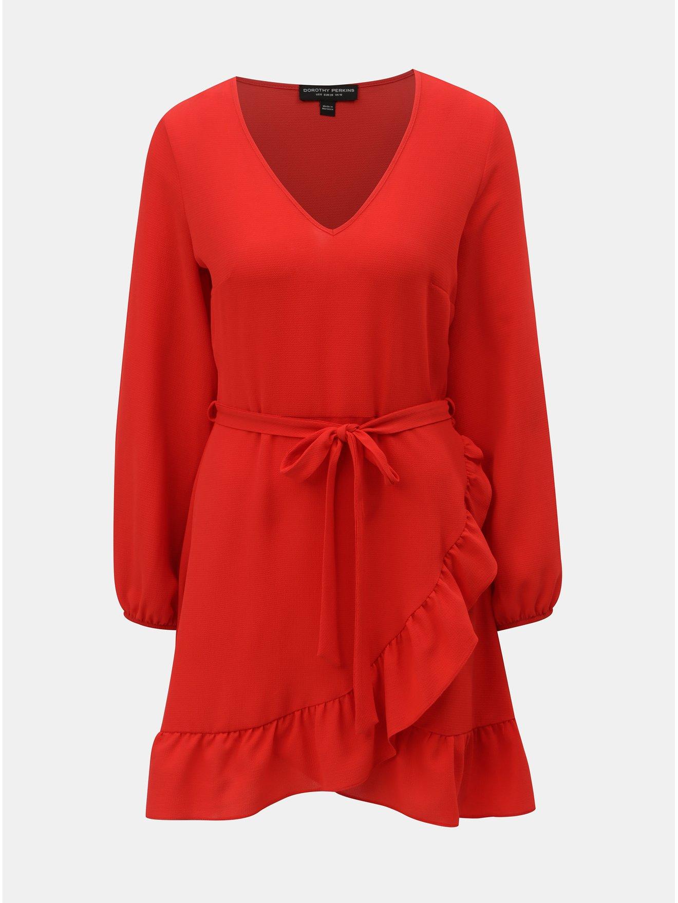 Červené šaty s volánem Dorothy Perkins