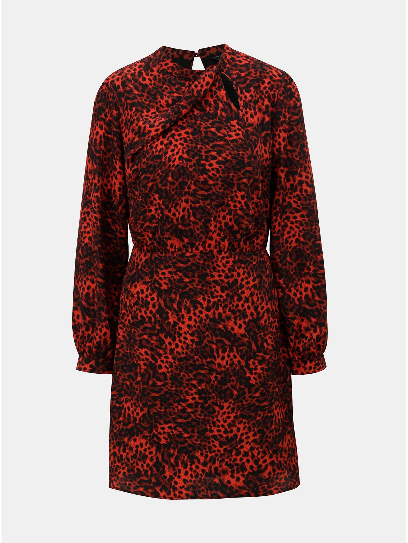 Černo-červené šaty s leopardím vzorem Dorothy Perkins