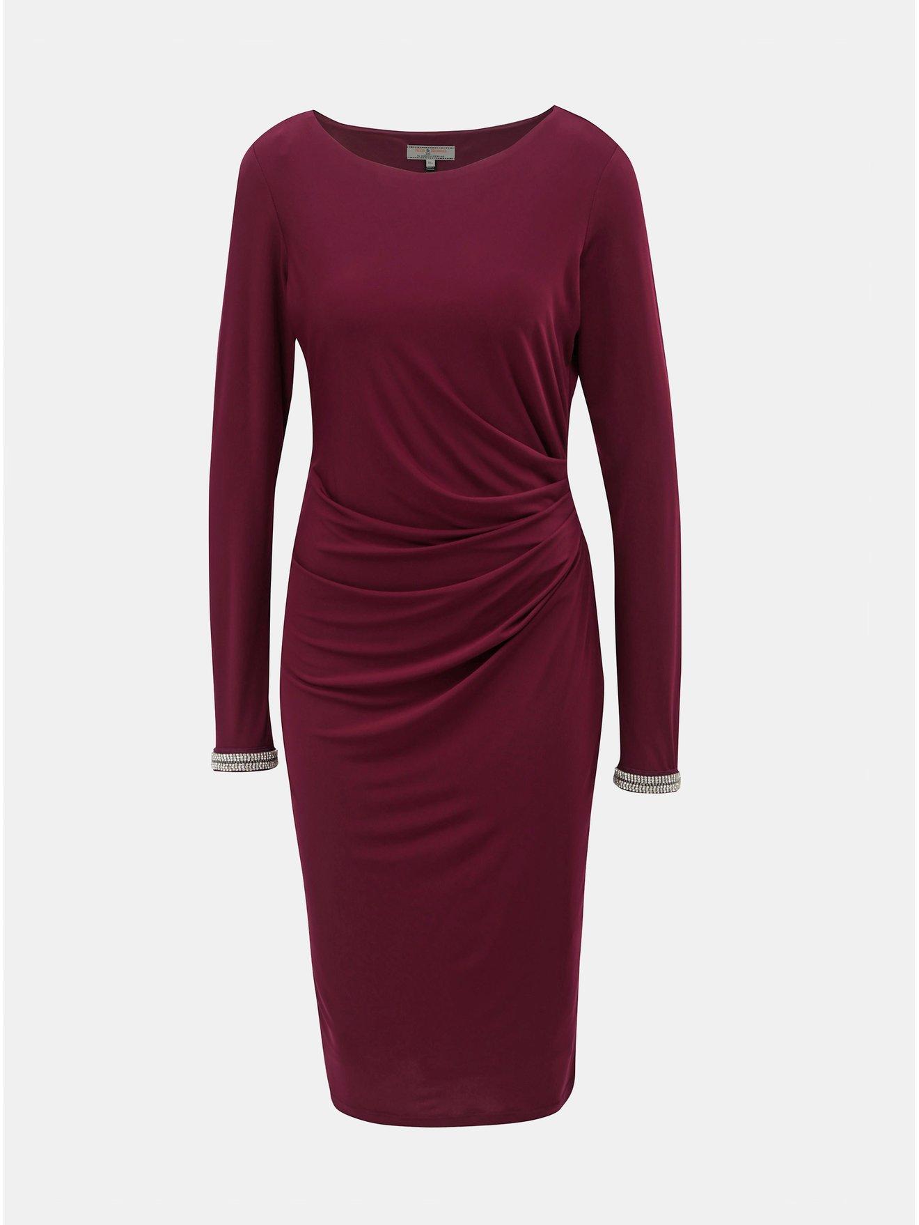 c1d29dca3001 Vínové šaty s řasením na boku Billie   Blossom by Dorothy Perkins Tall