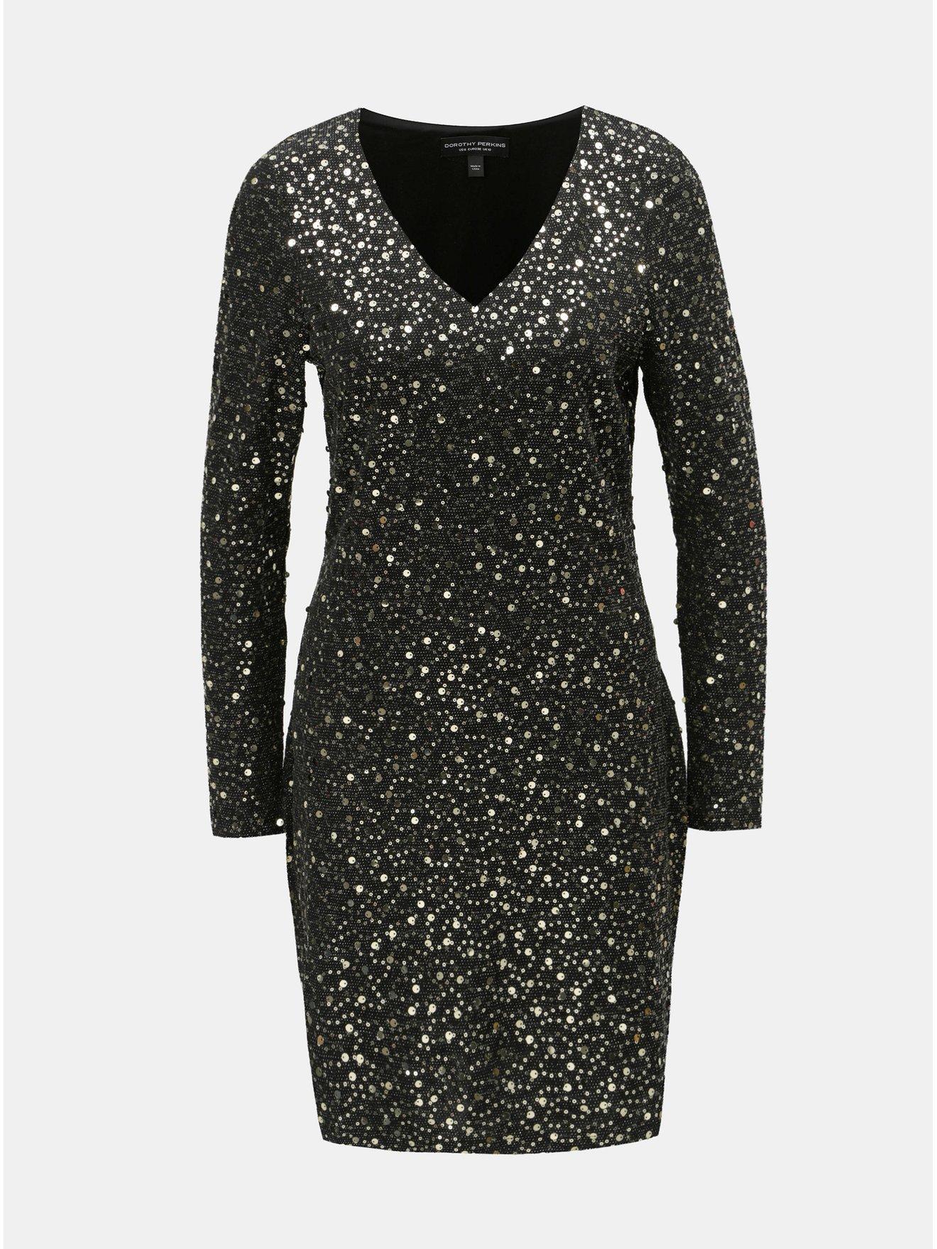 Černé pouzdrové šaty s flitry ve zlaté barvě Dorothy Perkins 8750f71912