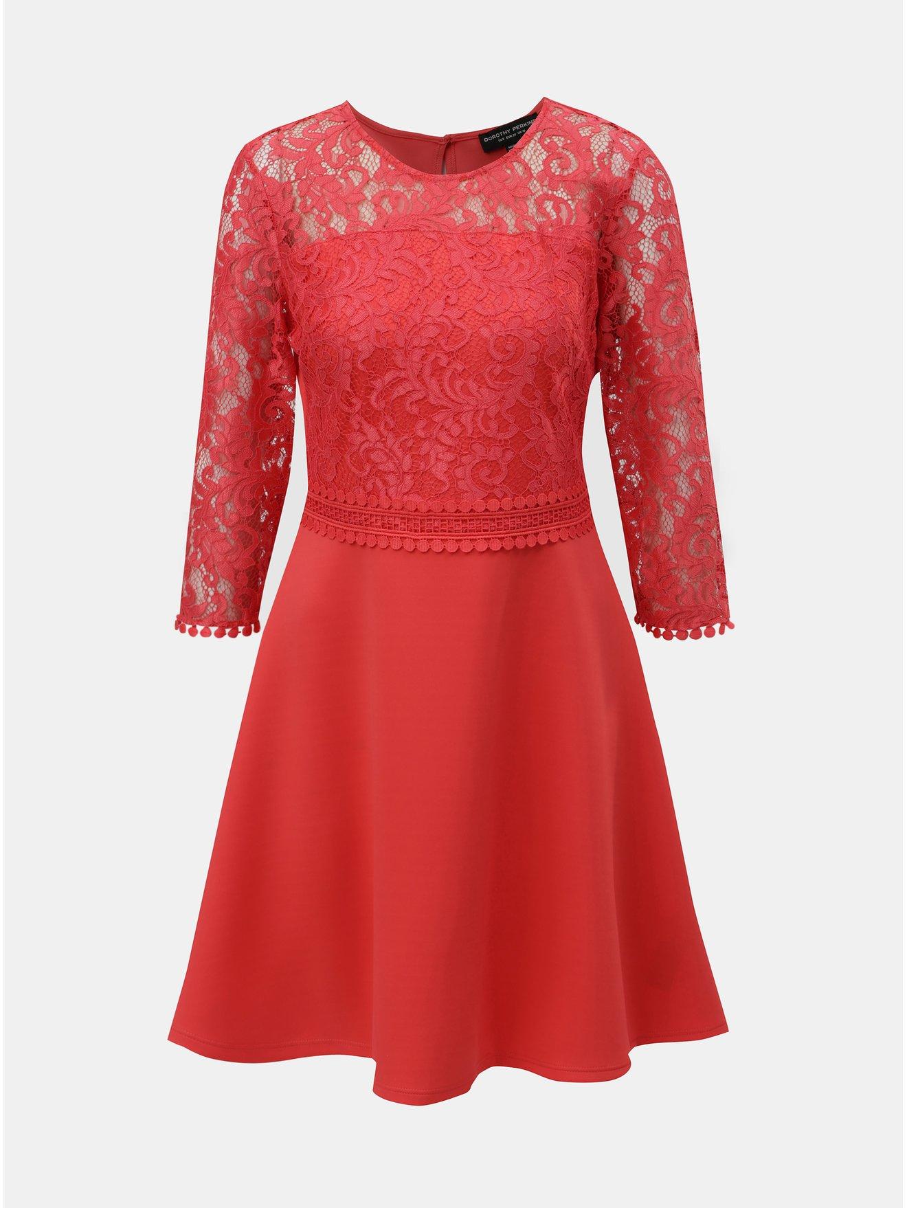Červené šaty s krajkovým topem Dorothy Perkins 155b8223cd