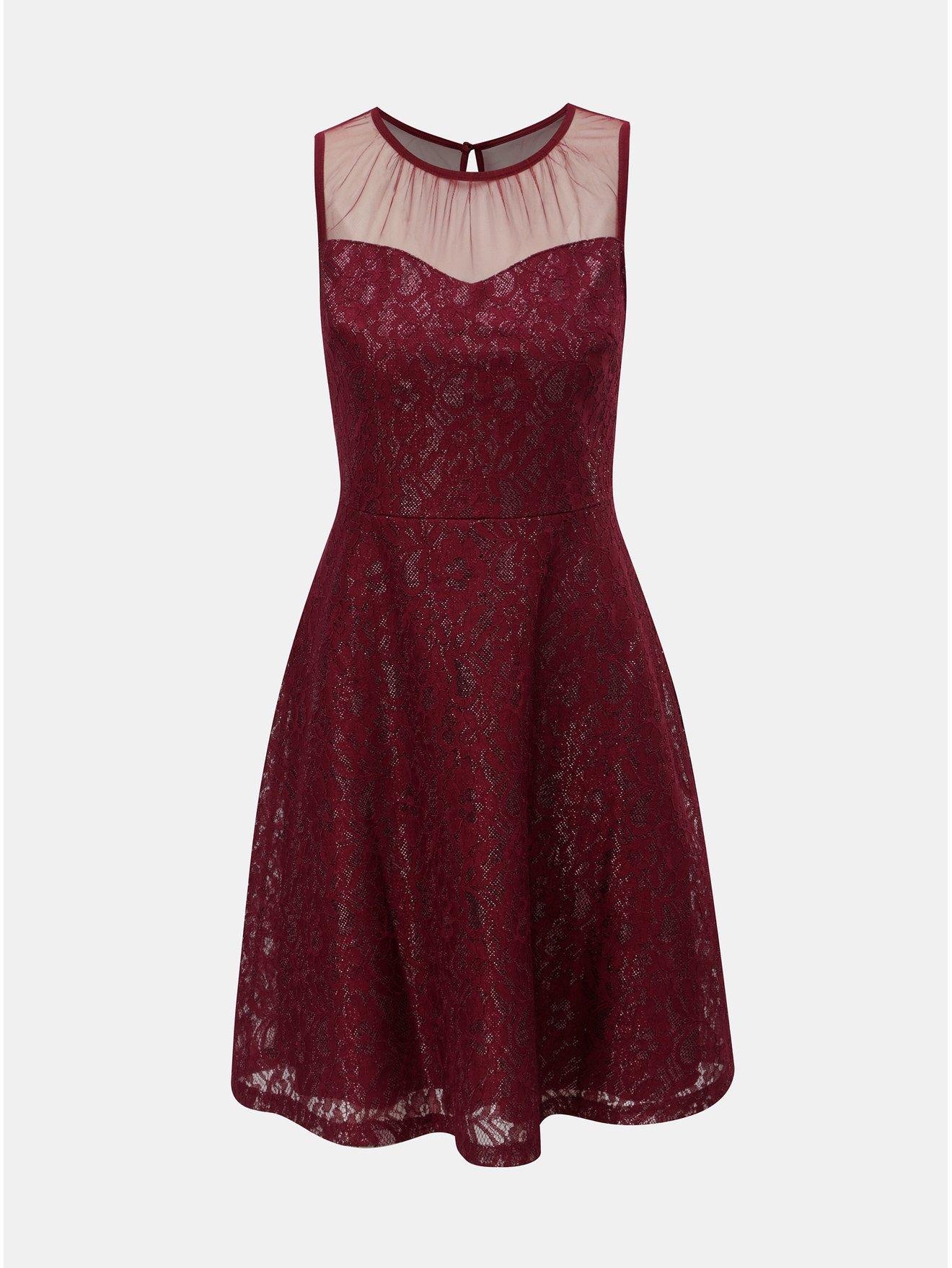 6d9e96c908e Vínové krajkové šaty s průsvitným detailem Dorothy Perkins