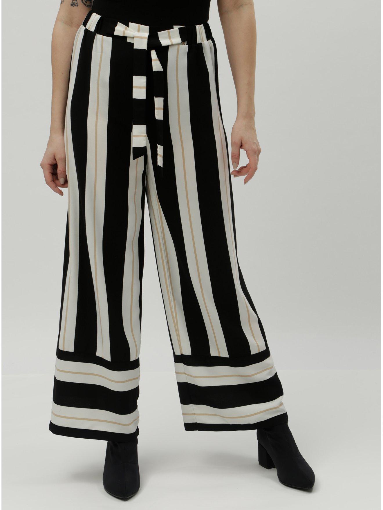 042d81503d4 Krémovo-černé pruhované široké kalhoty s vysokým pasem Dorothy Perkins