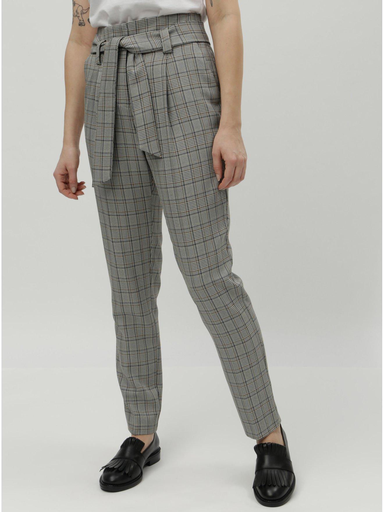 Šedé kostkované kalhoty s vysokým pasem Dorothy Perkins Tall 1ab085f1dc