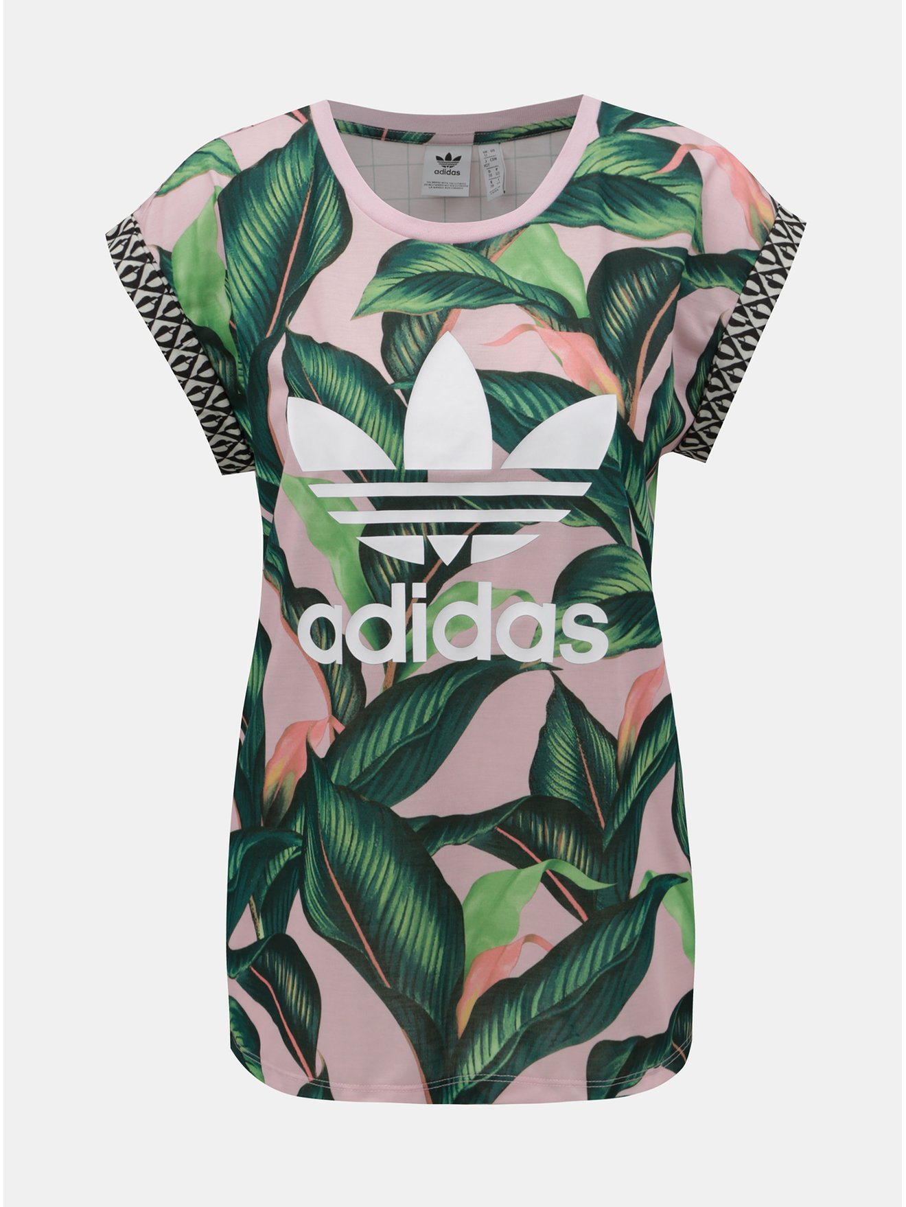 Růžovo-zelené dámské tričko s motivem adidas Originals bf434ad2c11
