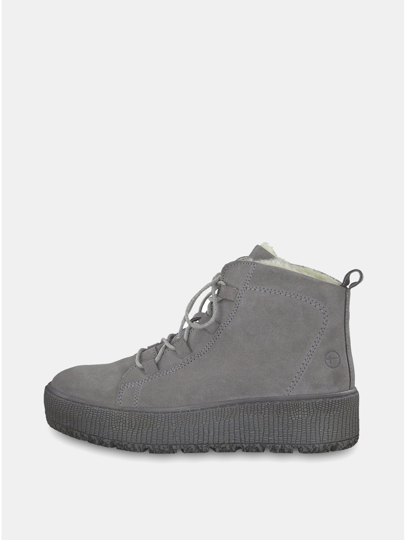 61a91f5a461 Šedé semišové kotníkové zimní boty na platformě Tamaris