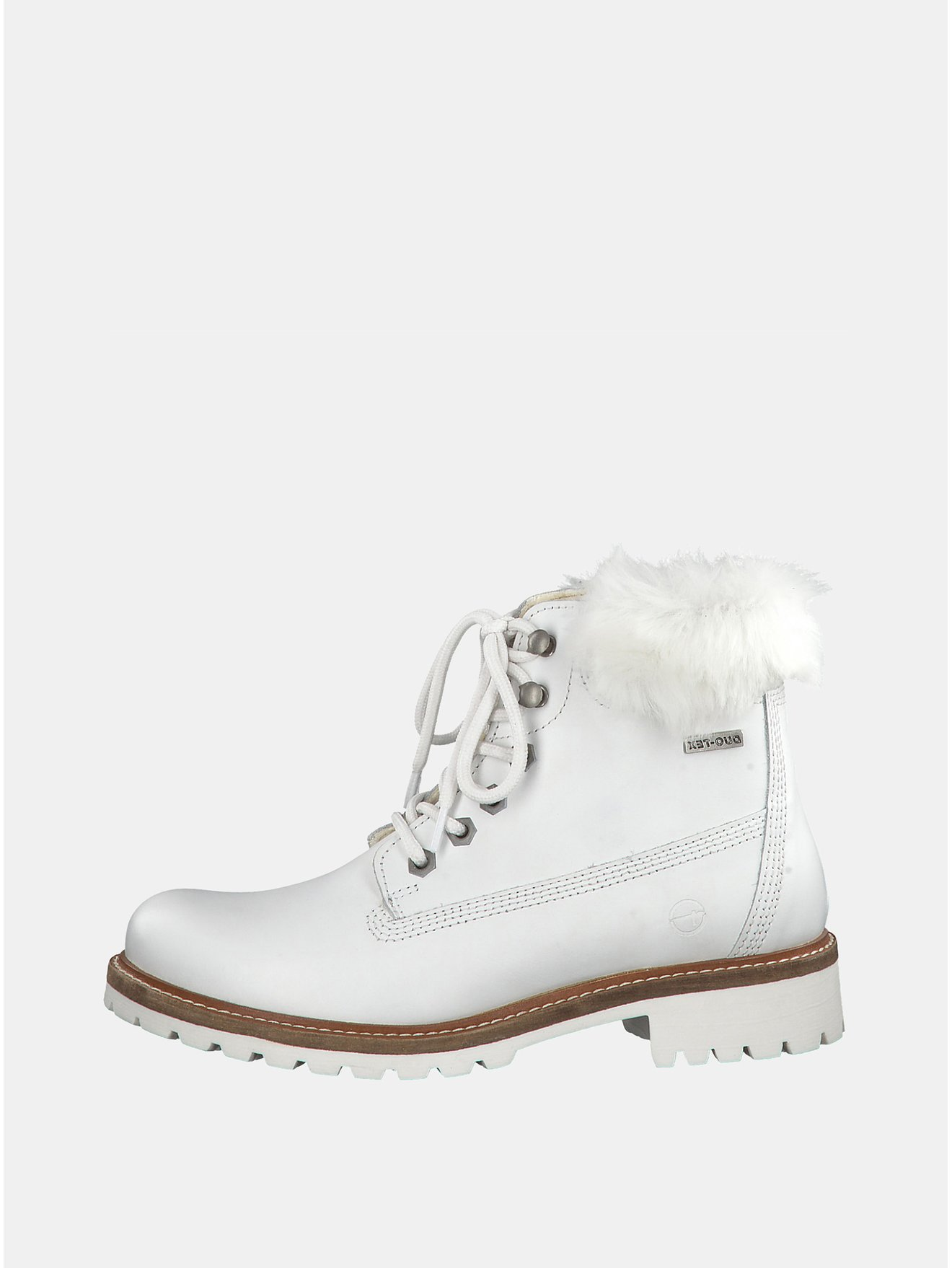 Bílé kožené kotníkové voděodpudivé zimní boty s vlněnou podšívkou Tamaris