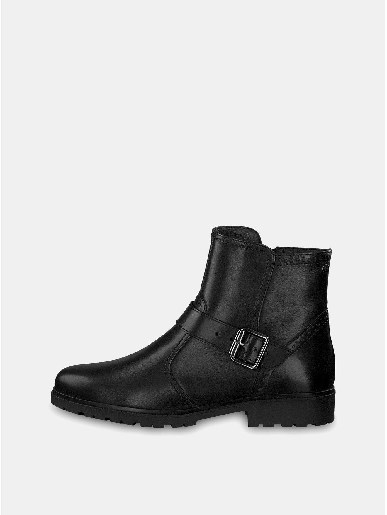 e466981fb26 Černé kožené kotníkové boty s vlněnou podšívkou Tamaris