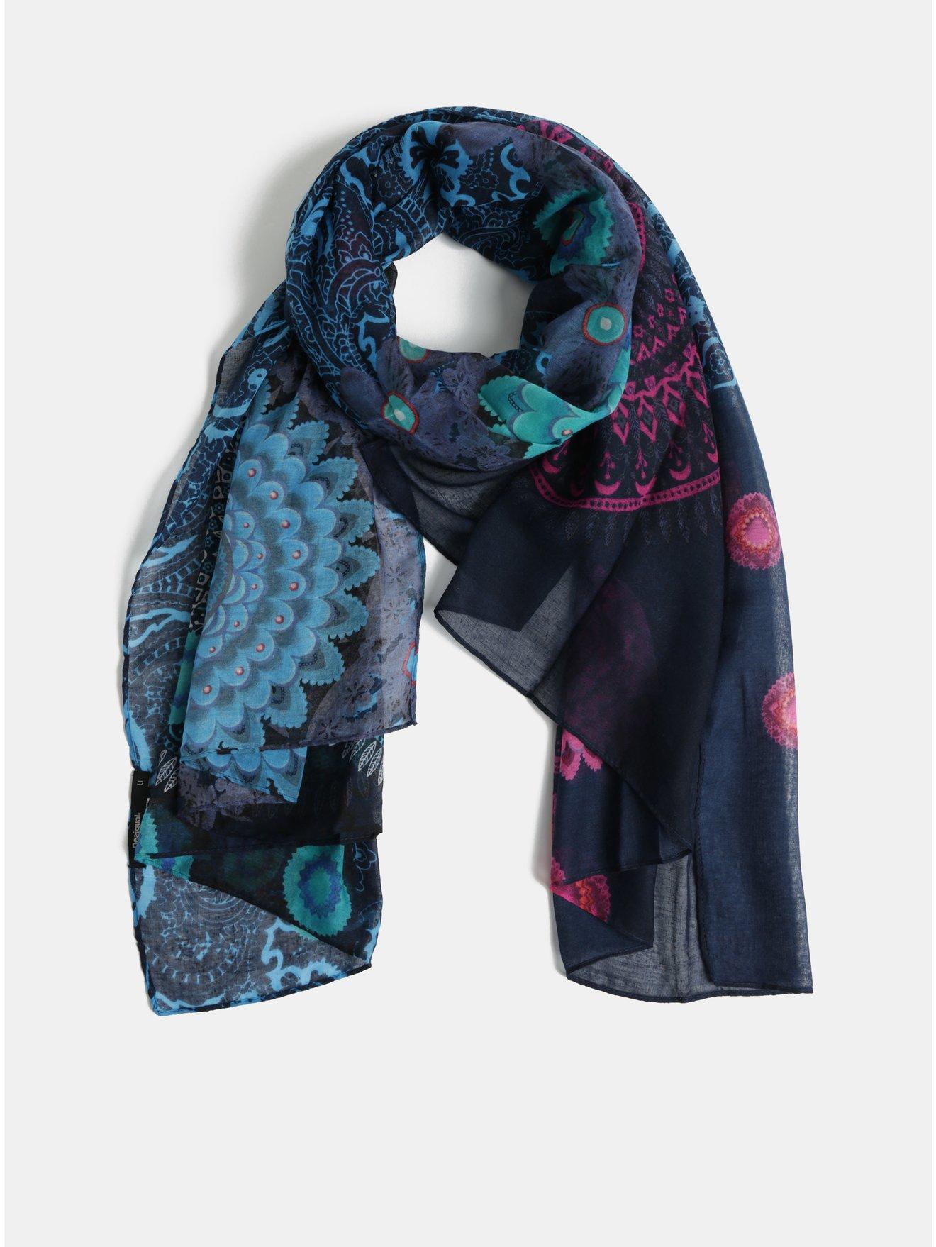 Tmavě modrý šátek s motivem mandal Desigual Pliss a59e384bd4