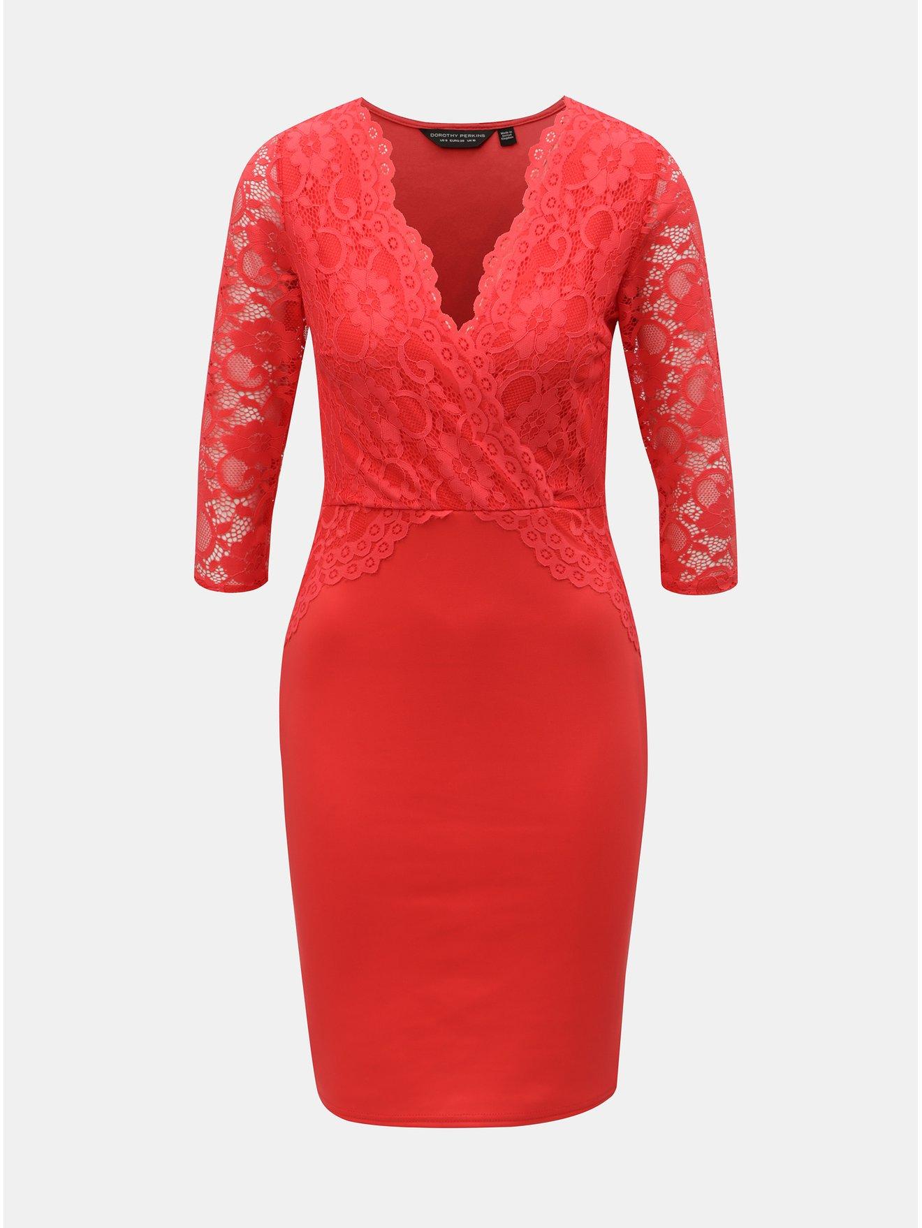 Červené pouzdrové šaty s krajkou Dorothy Perkins c75690afda