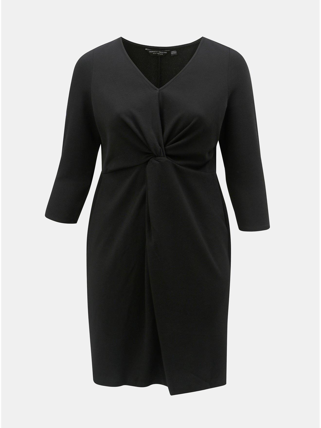 Černé šaty s řasením na břiše Dorothy Perkins Curve