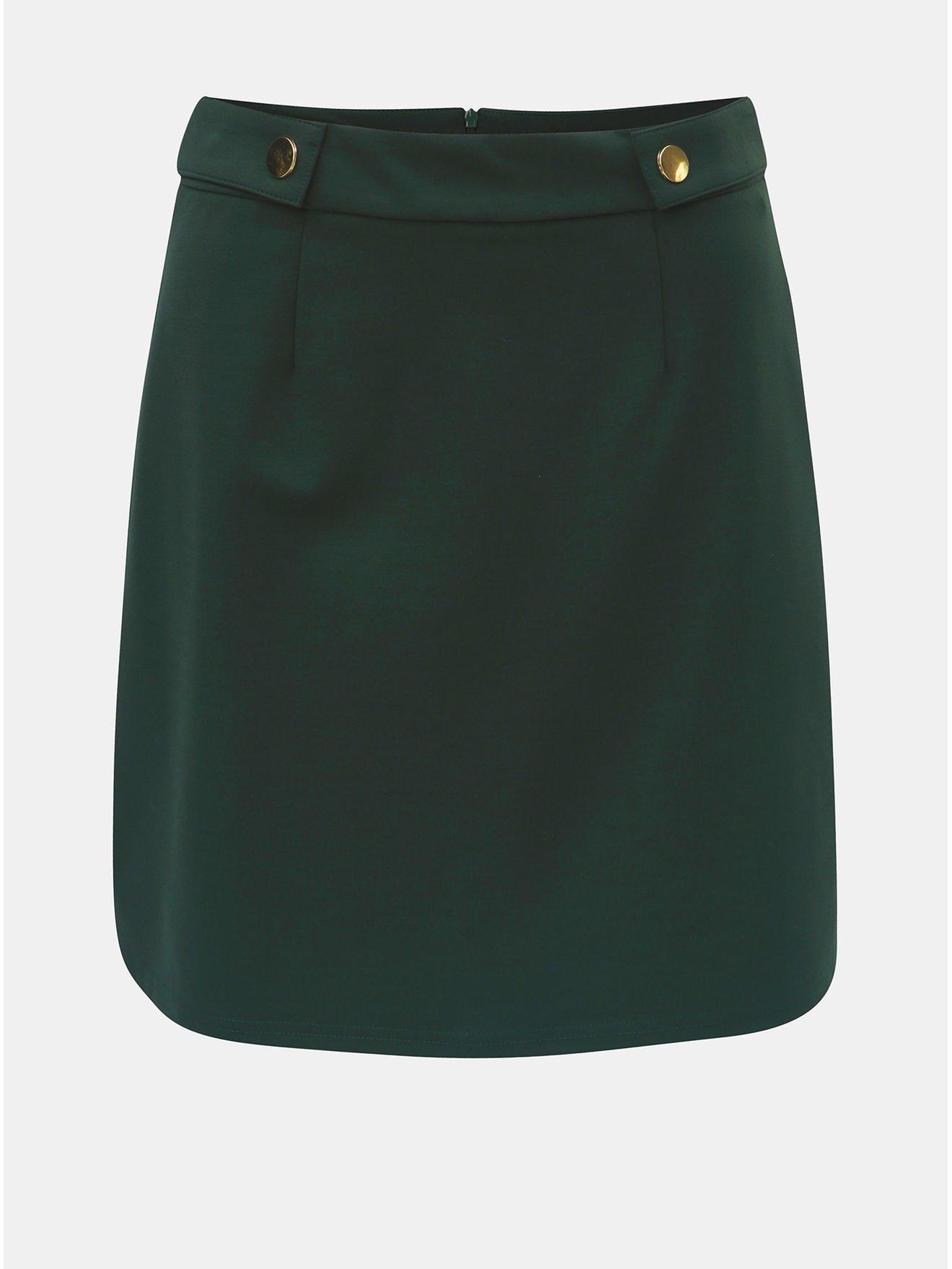 Tmavě zelená áčková sukně s detaily ve zlaté barvě Dorothy Perkins