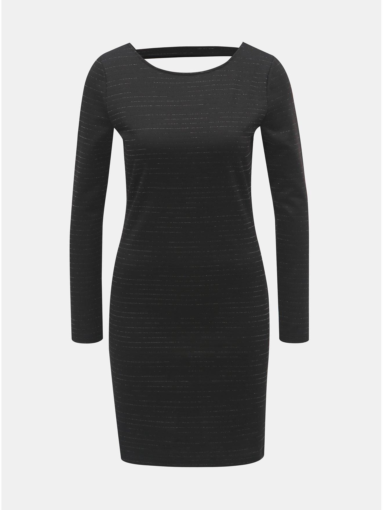 Černé minišaty s průstřihem na zádech a třpytivými pruhy Jacqueline de Yong Glitter