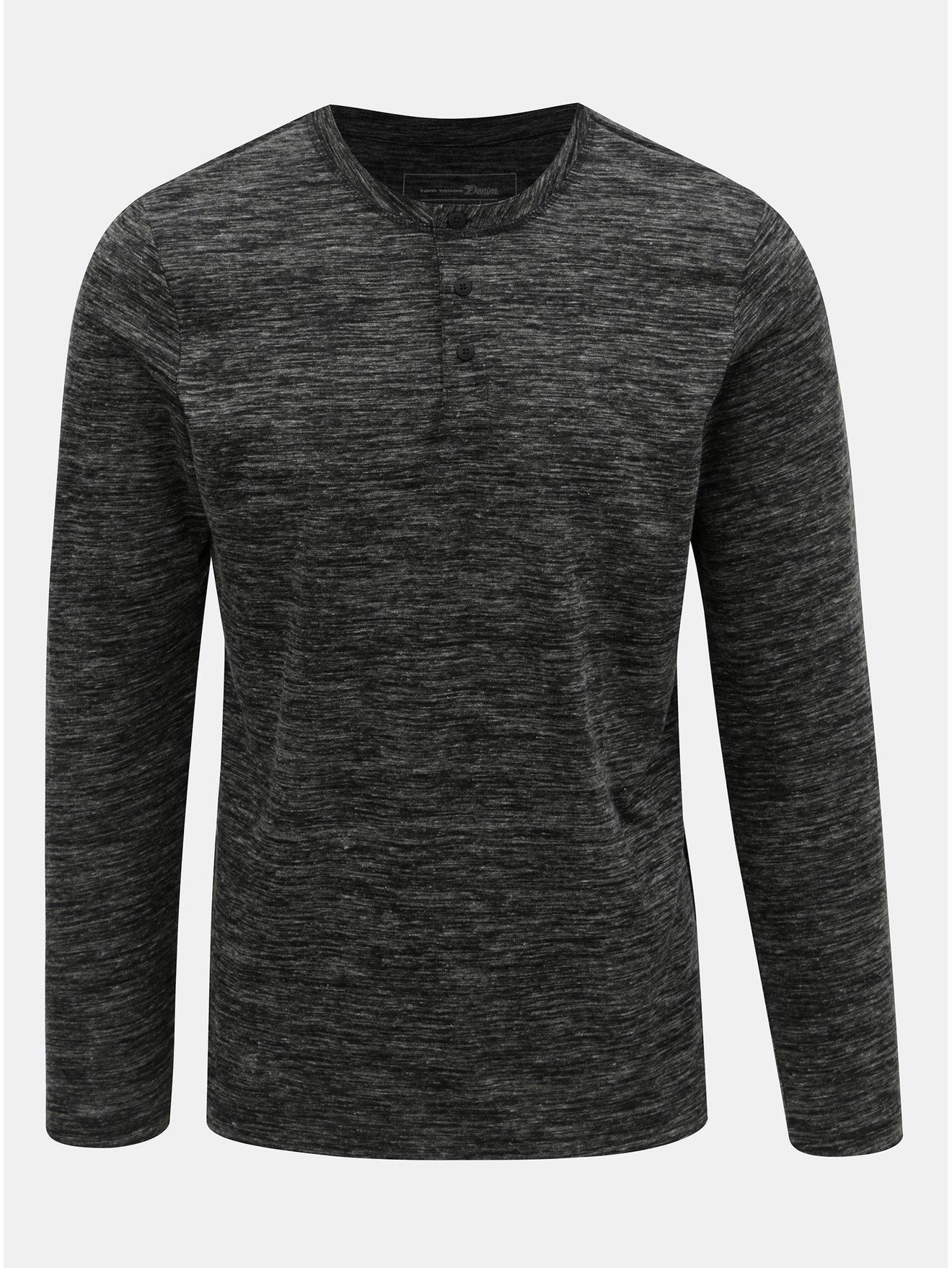 Tmavě šedé pánské žíhané tričko na knoflíky Tom Tailor Denim