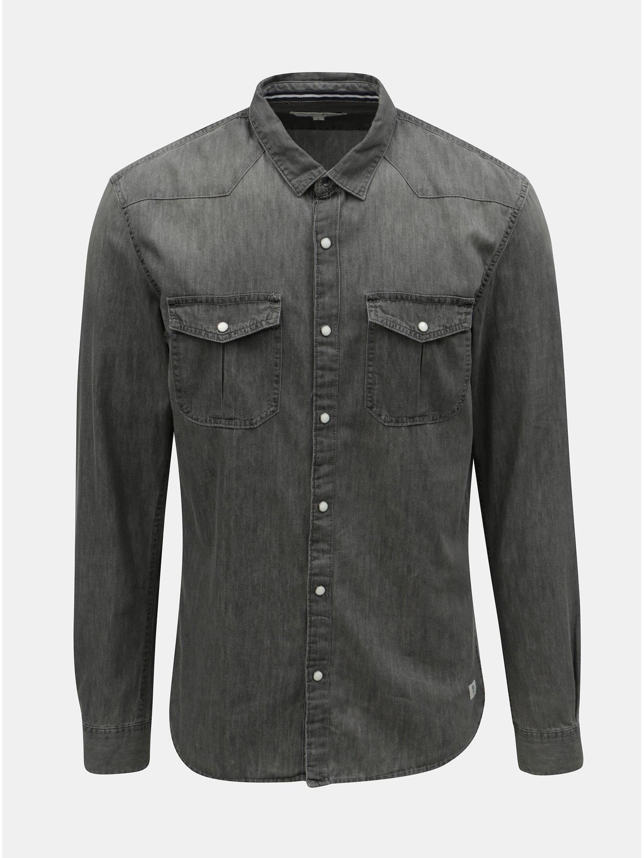 Šedá pánská džínová košile Tom Tailor Denim