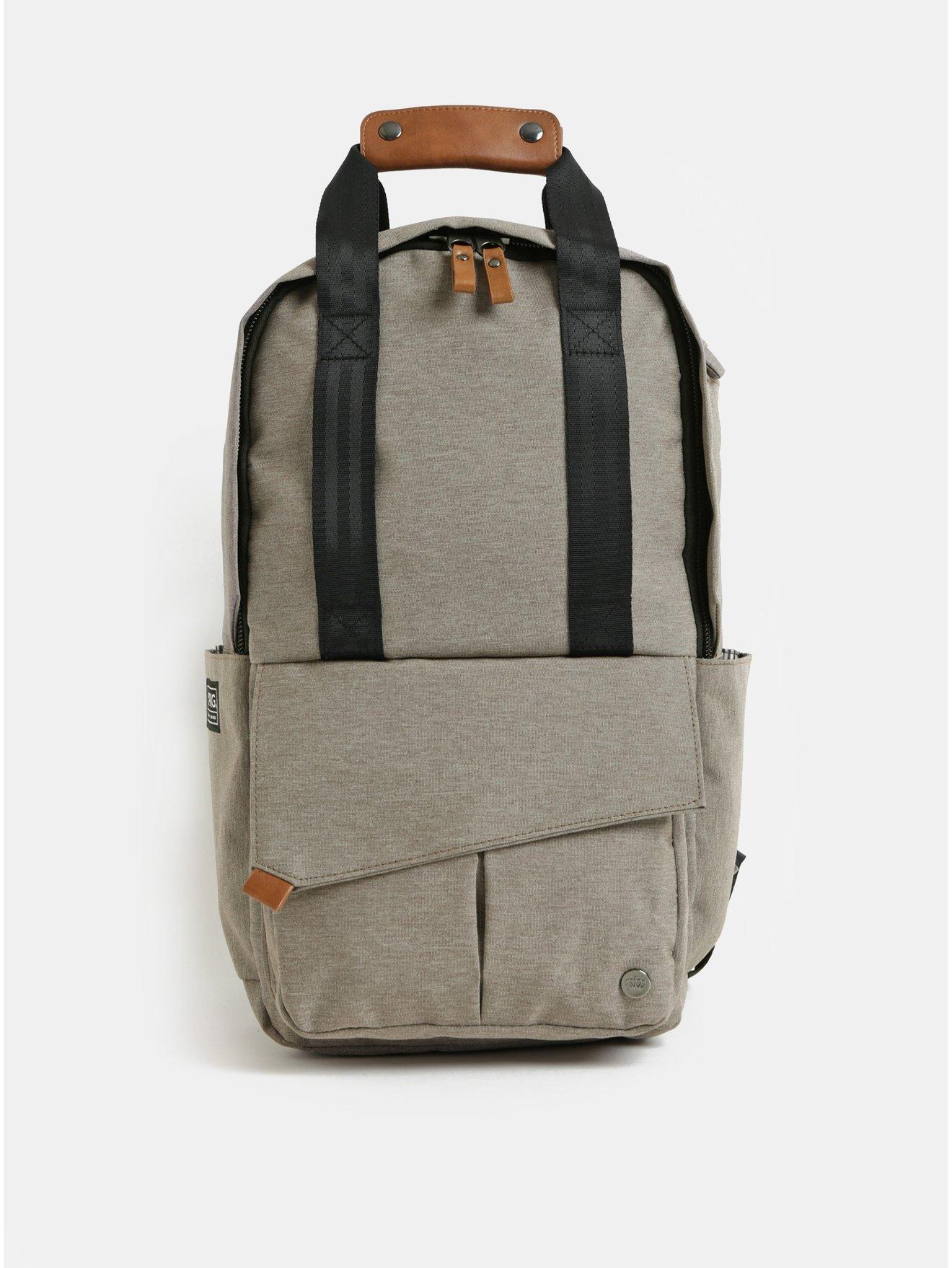 Světle hnědý nepromokavý batoh s vnitřní taškou na notebook 2v1 PKG 12 l
