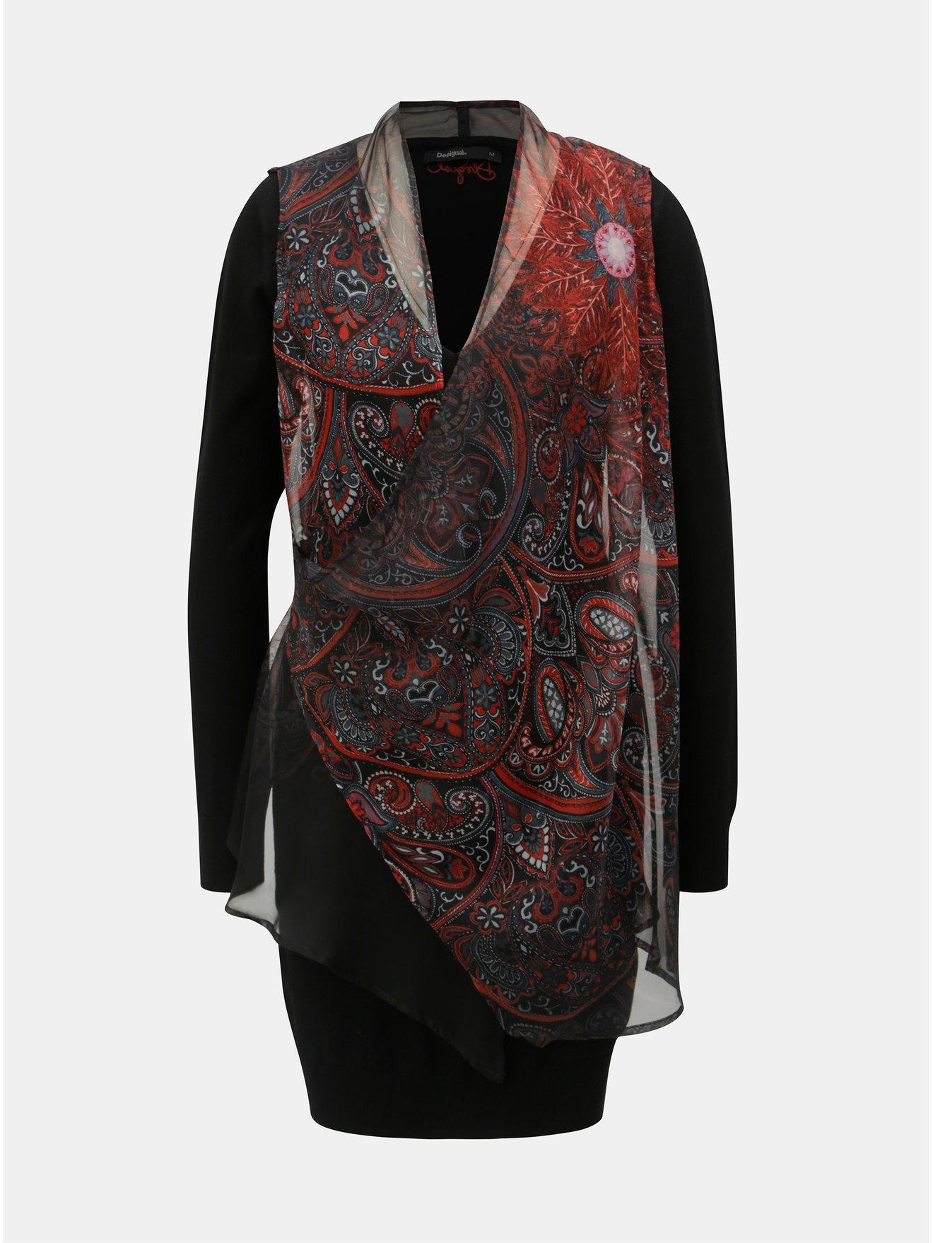 64b07524be4e Černé pouzdrové šaty s variabilním vzorovaným šátkem Desigual Bernard