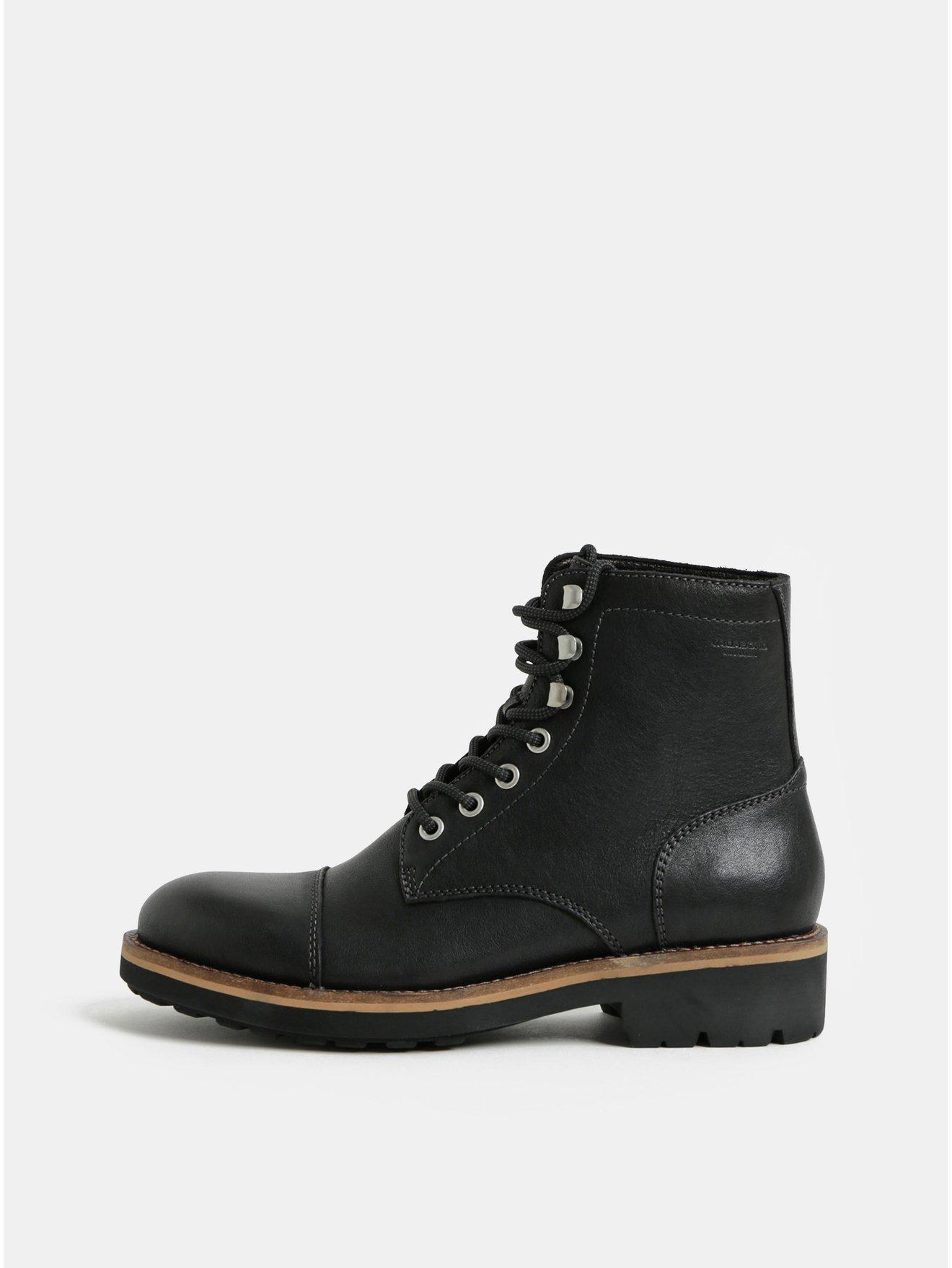 Černé pánské kožené kotníkové boty Vagabond Bruce