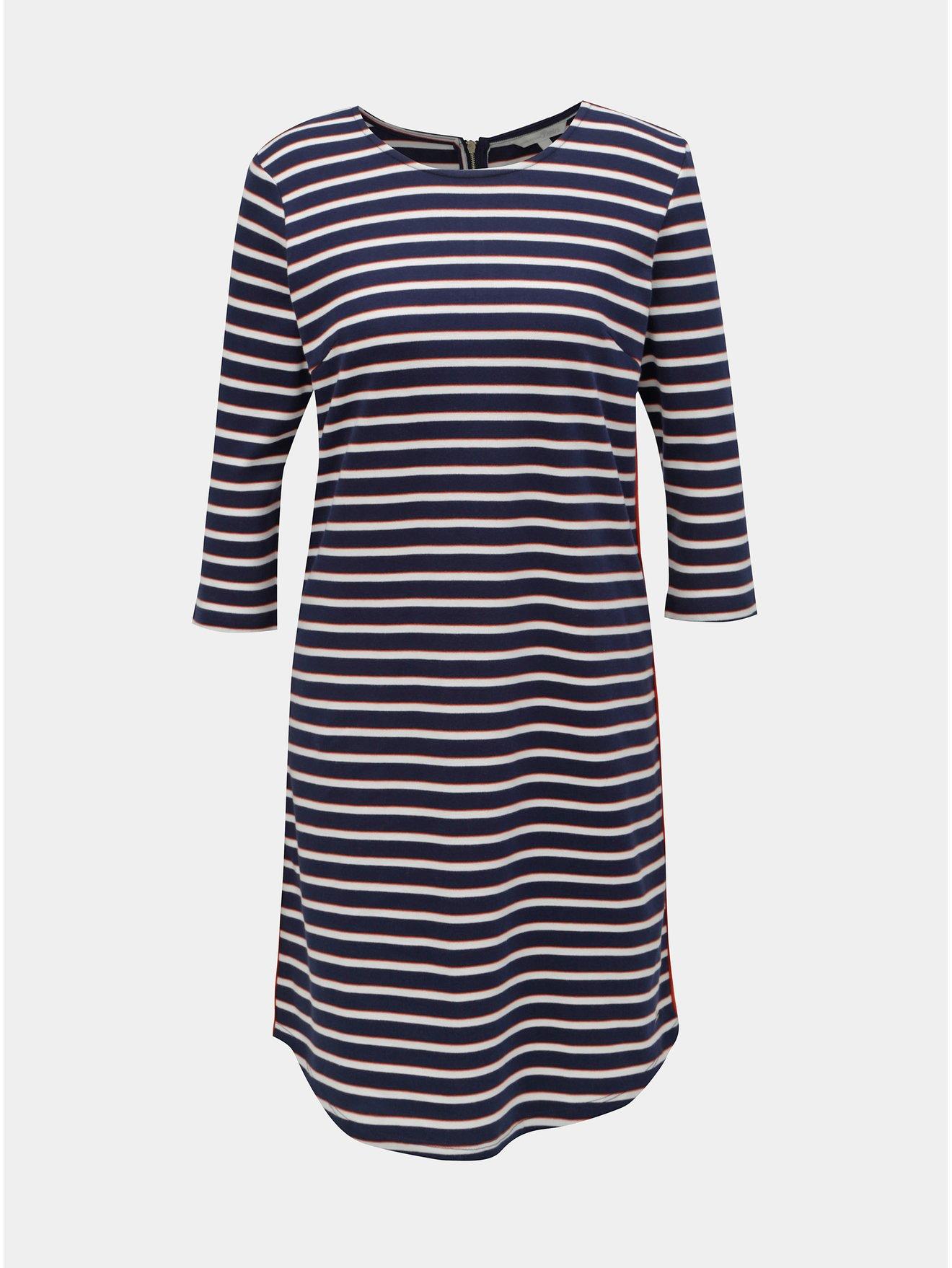 Bílo-modré pruhované šaty s 3/4 rukávem Tom Tailor Denim