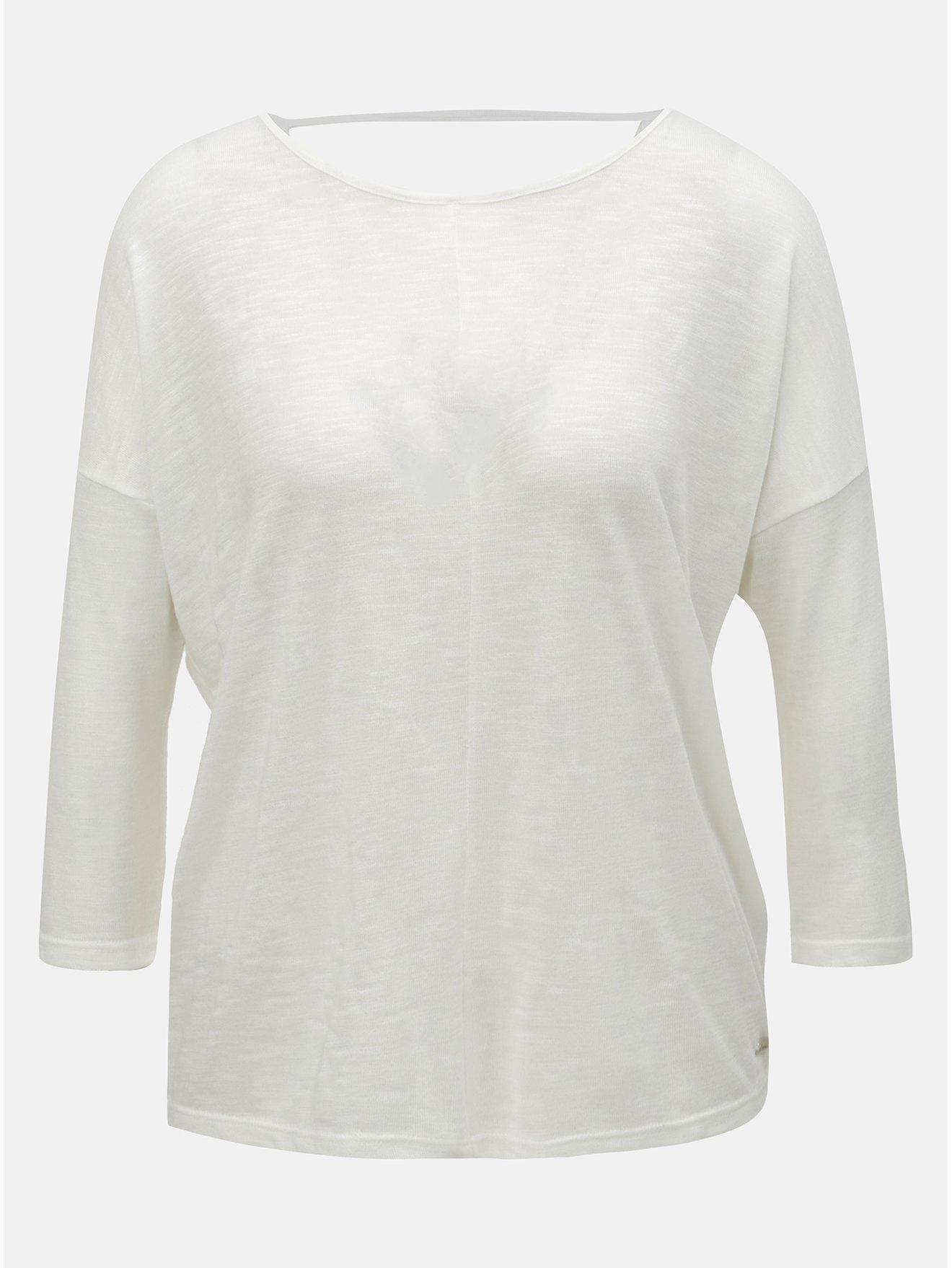 Krémové dámské volné tričko s 3/4 rukávem Tom Tailor Denim