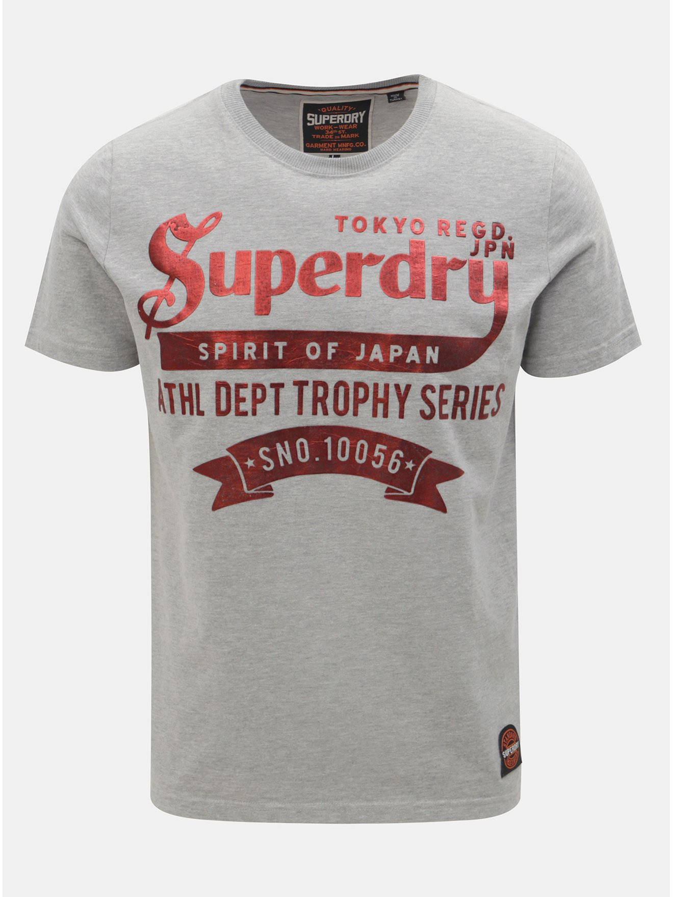 Šedé pánské tričko s krátkým rukávem a potiskem Superdry 9e2d760288
