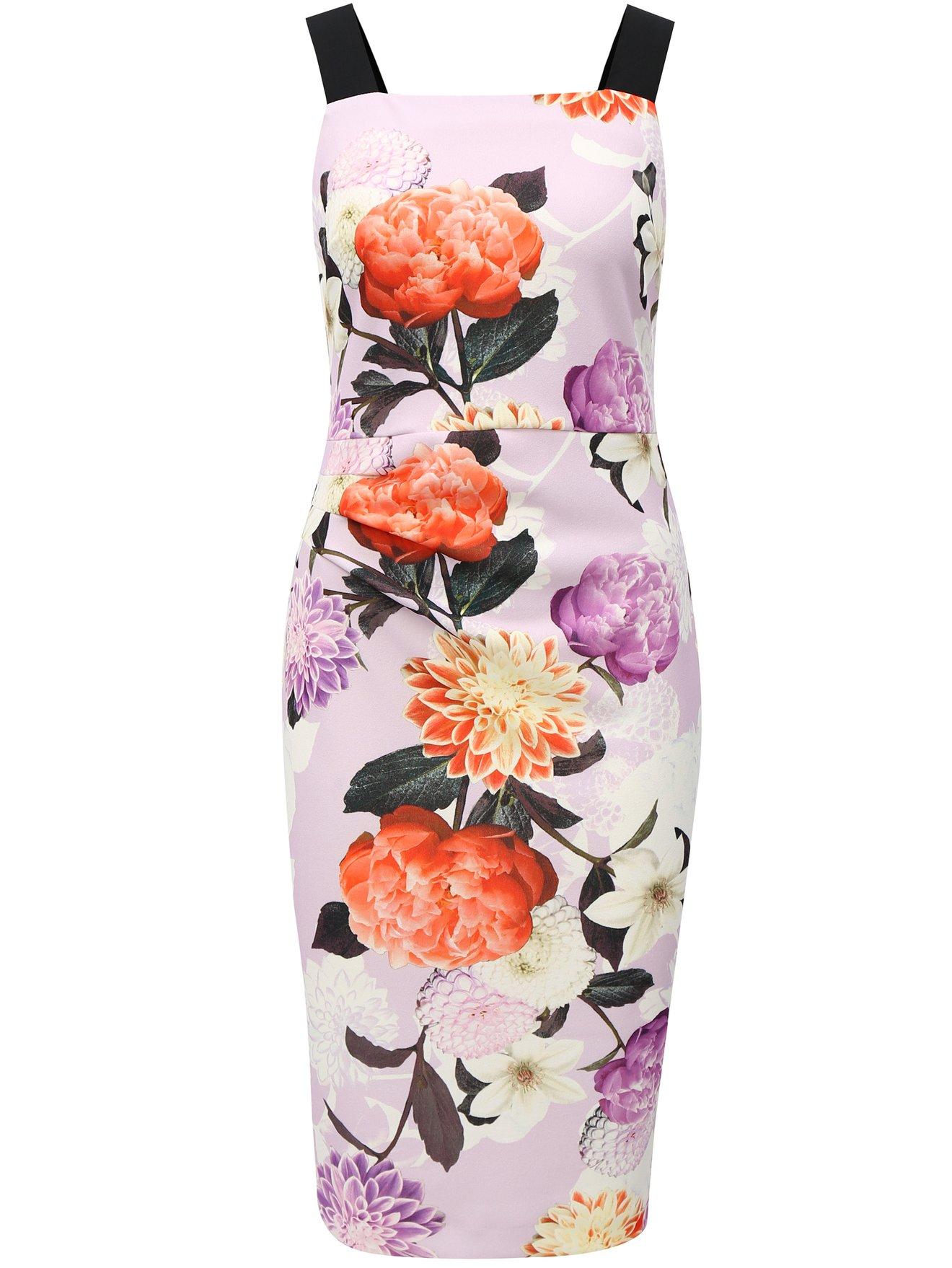 Fotografie Světle fialové květované pouzdrové šaty na ramínka Dorothy Perkins