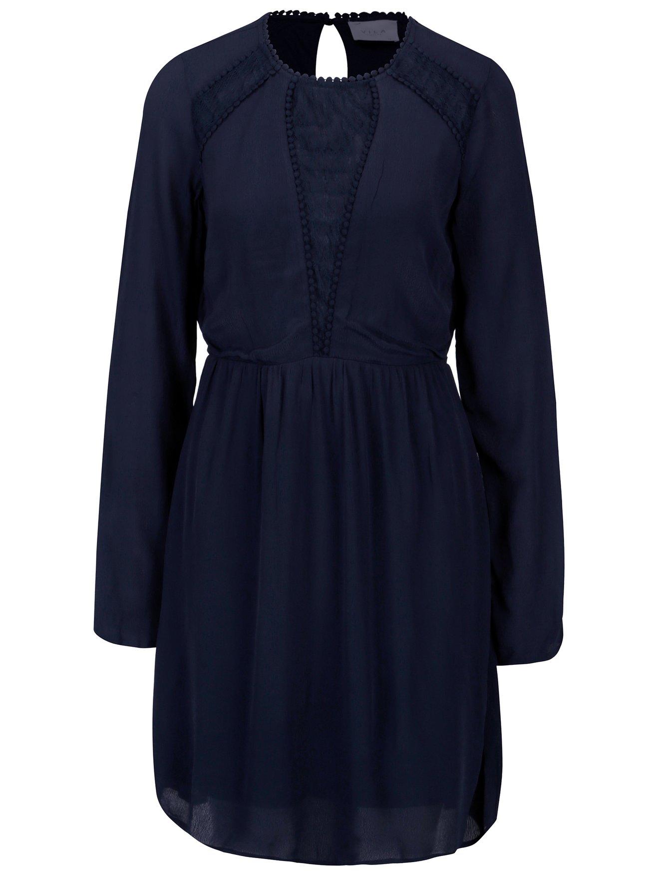 Tmavě modré šaty s dlouhým rukávem VILA Dipti