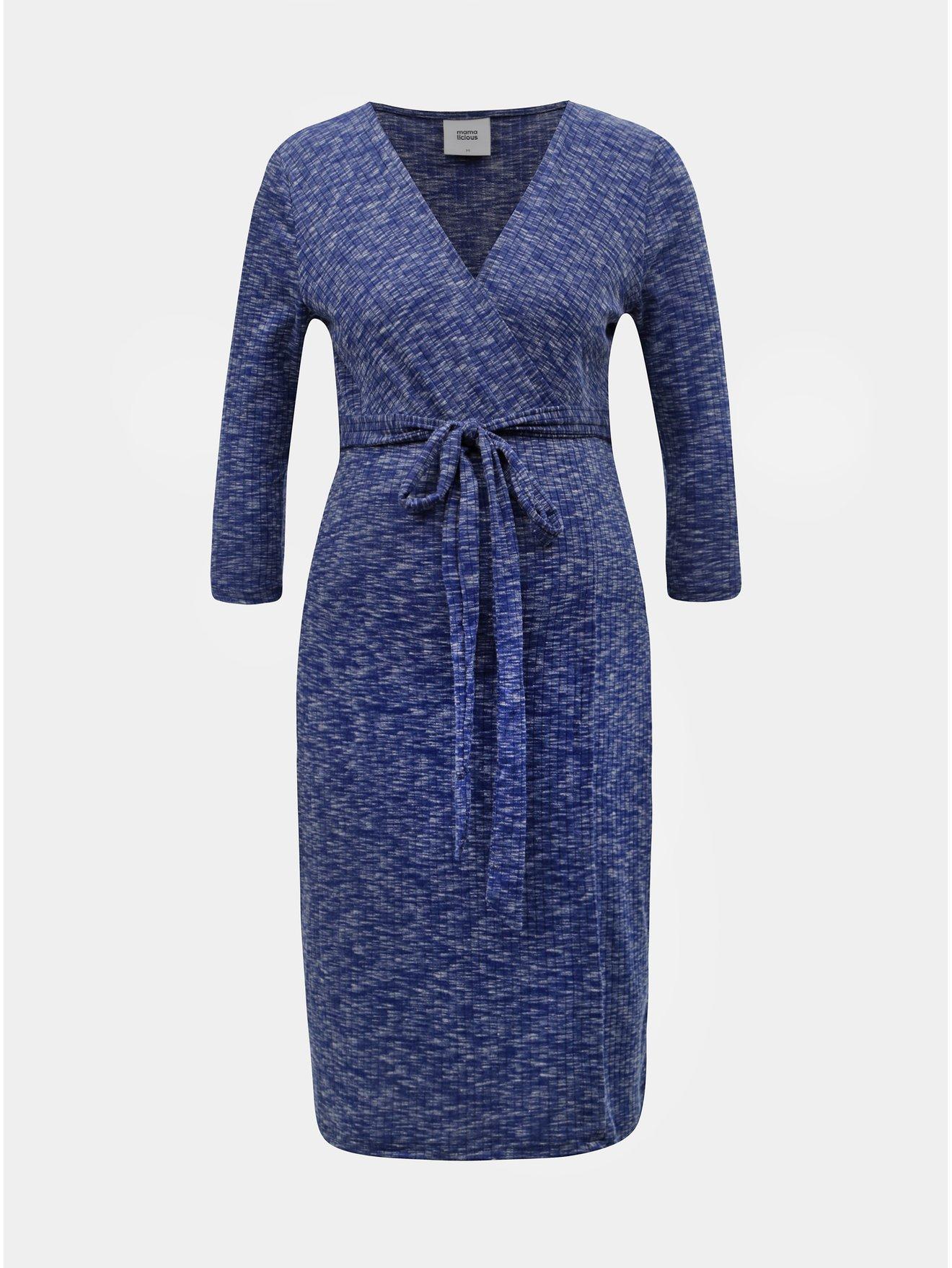 Modré žíhané těhotenské šaty s 3 4 rukávem Mama.licious Giana 851d1f78ad