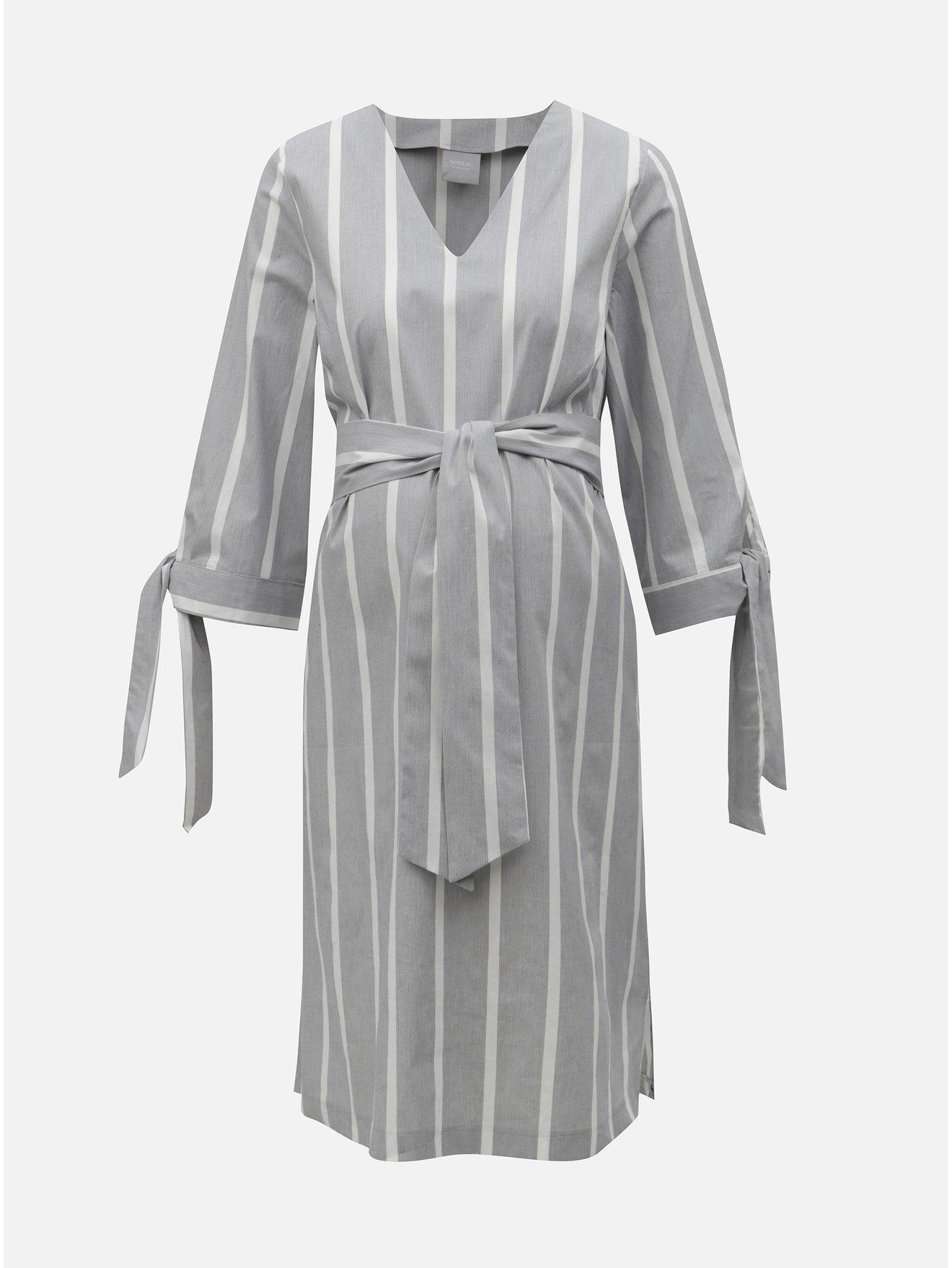0ea73d3e7ef Bílo-šedé těhotenské pruhované šaty Mama.licious Laura