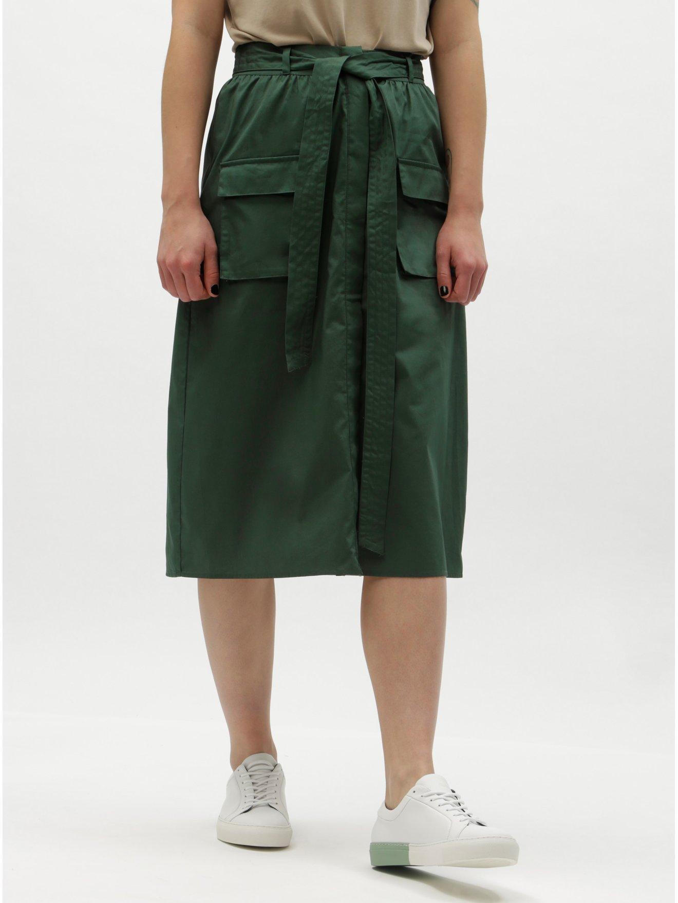 Tmavě zelená sukně s kapsami VILA Nyala