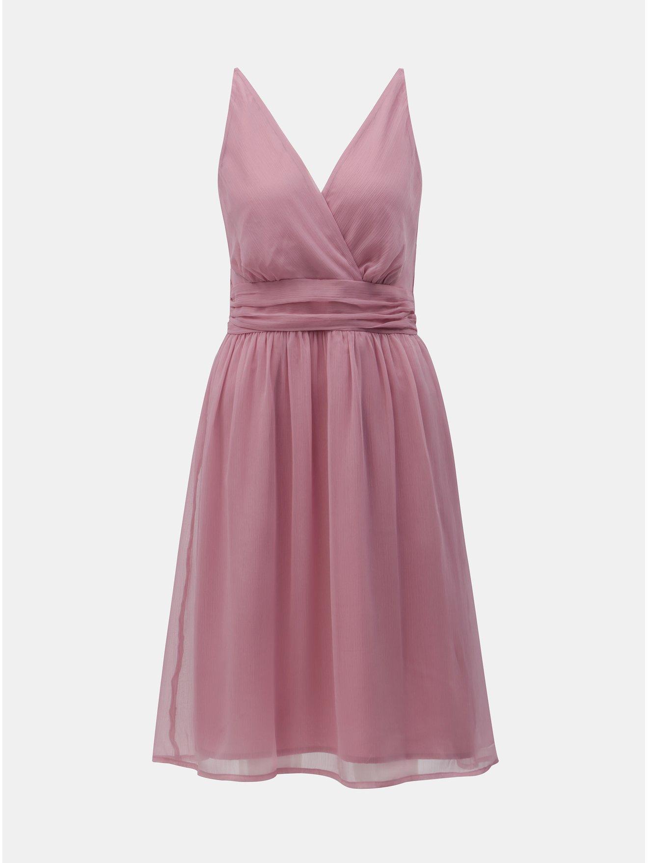 Růžové šaty s překládaným výstřihem VERO MODA Josephine