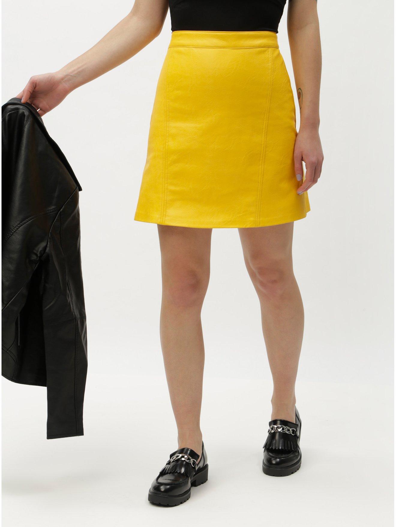 7311ccf453f Žlutá koženková sukně ONLY Allison