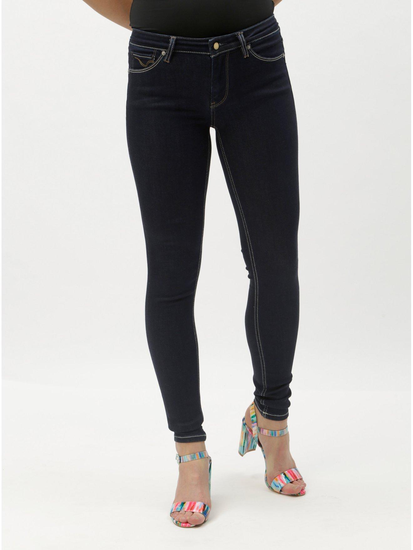 Tmavě modré skinny džíny s nízkým pasem ONLY Carmen