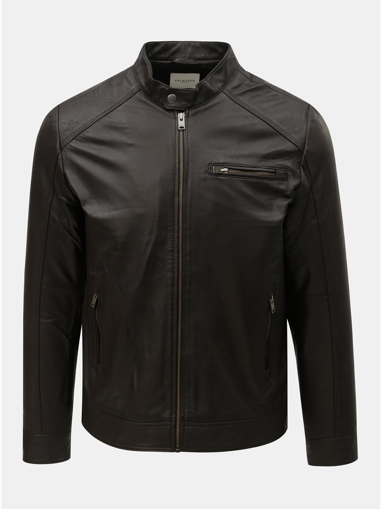 Tmavě hnědá kožená bunda Selected Homme Classic 2f082070129