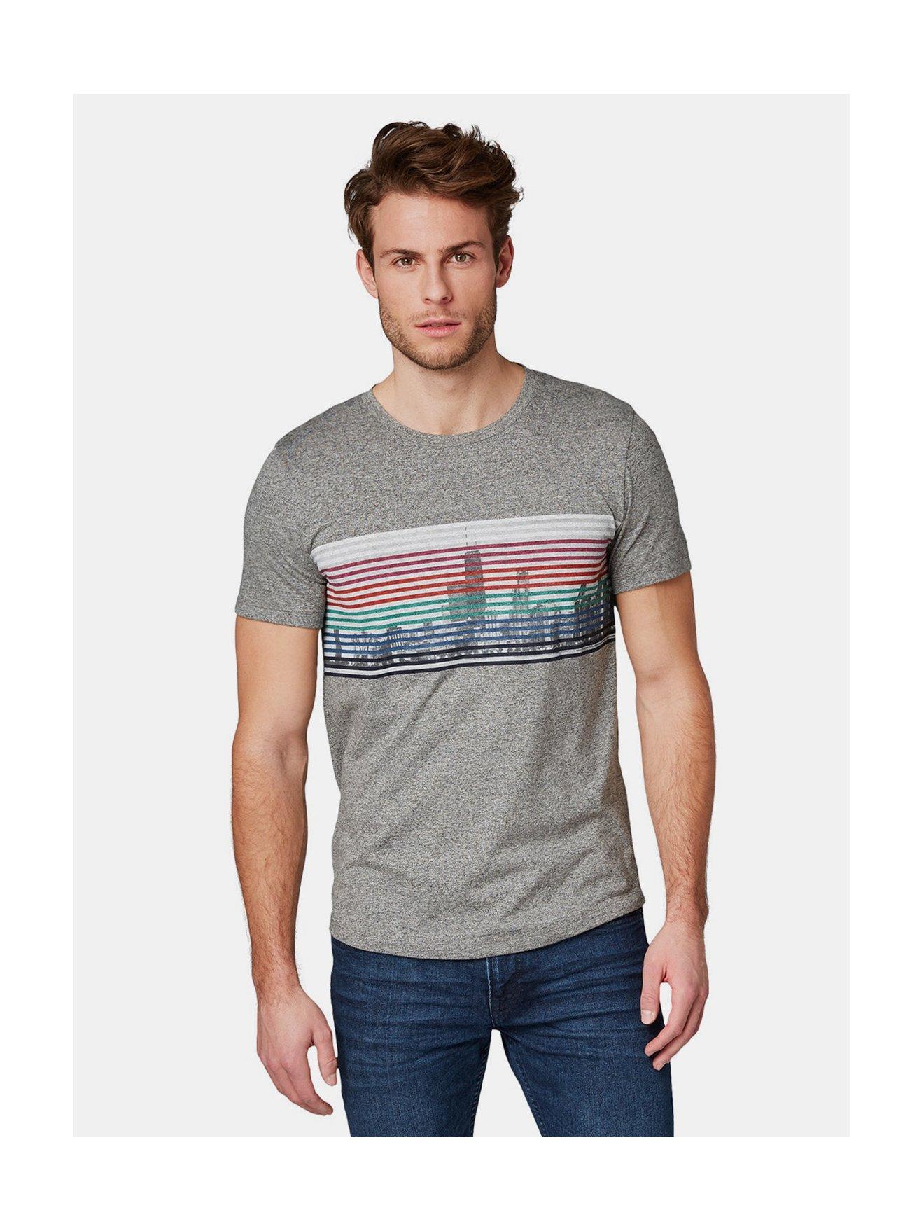 Šedé pánské žíhané tričko s potiskem Tom Tailor Denim