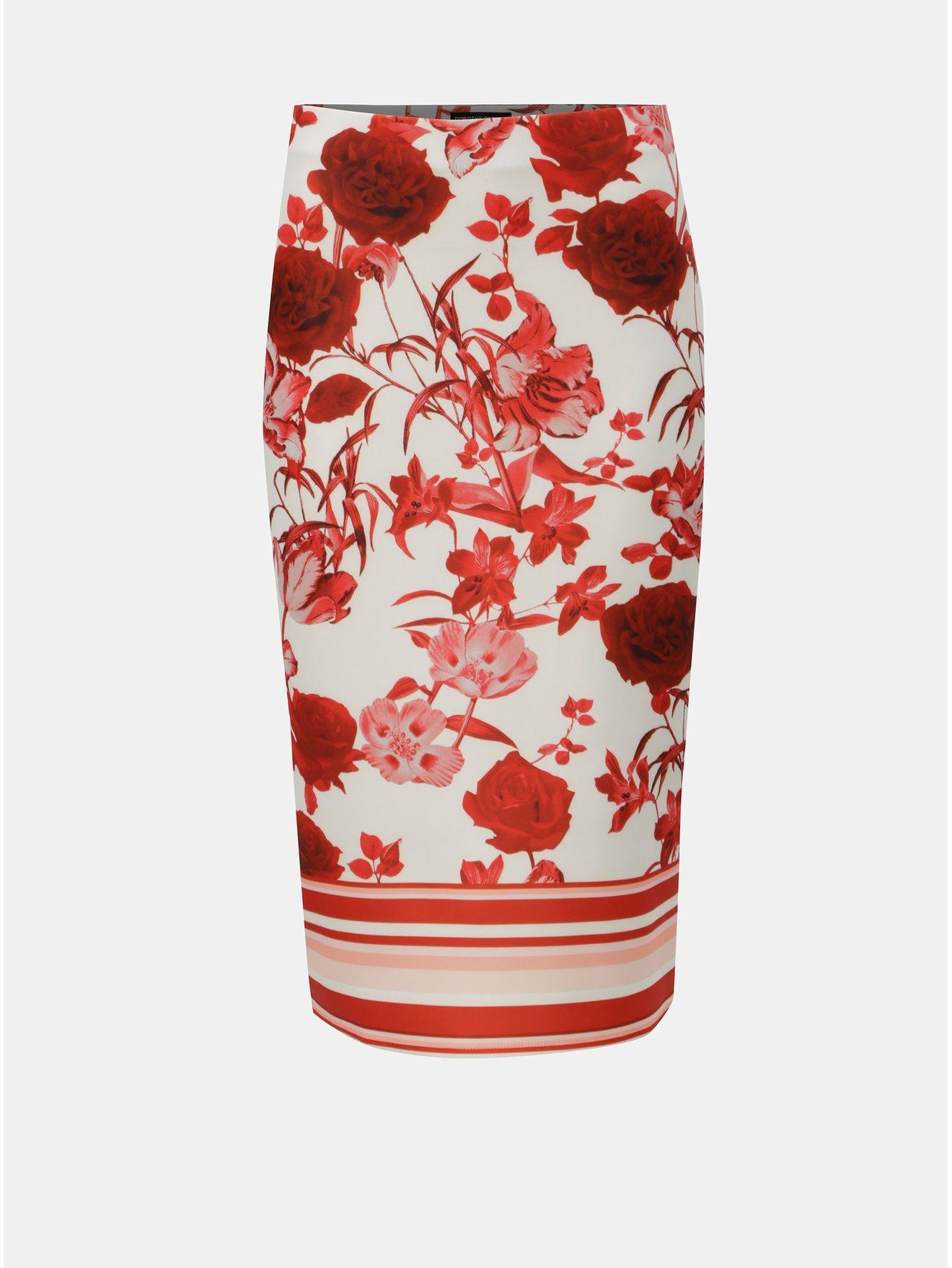 6ce8070f12a5 Červeno-bílá květovaná pouzdrová sukně Dorothy Perkins