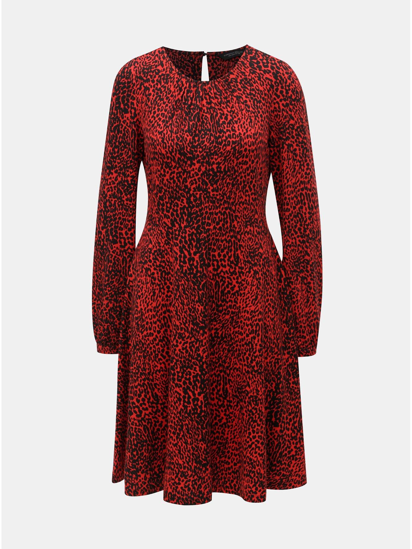 Černo-červené šaty s gepardím vzorem Dorothy Perkins a9baa4aee4