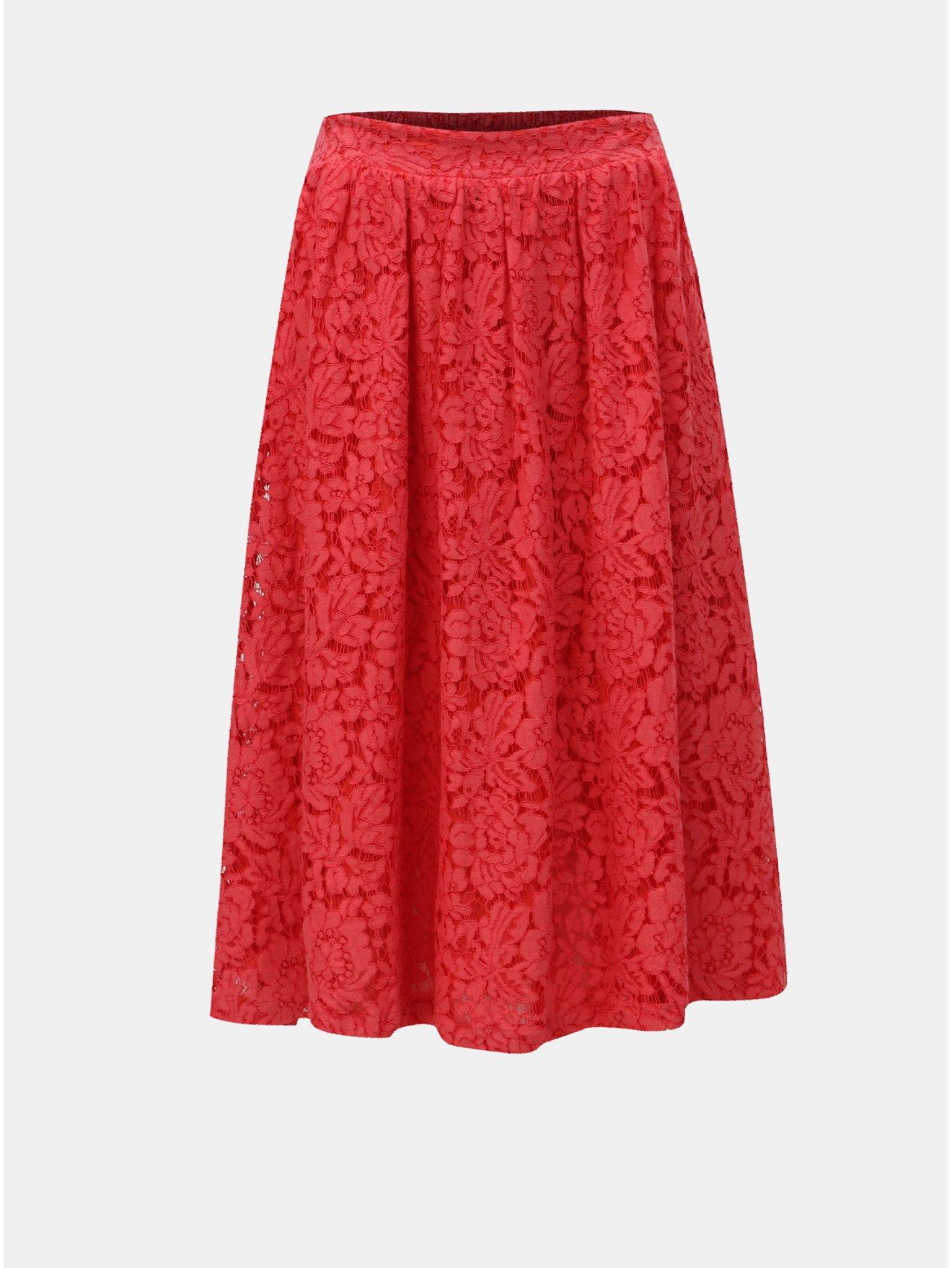 84df71ad2e7 Červená krajková sukně ONLY Skylar