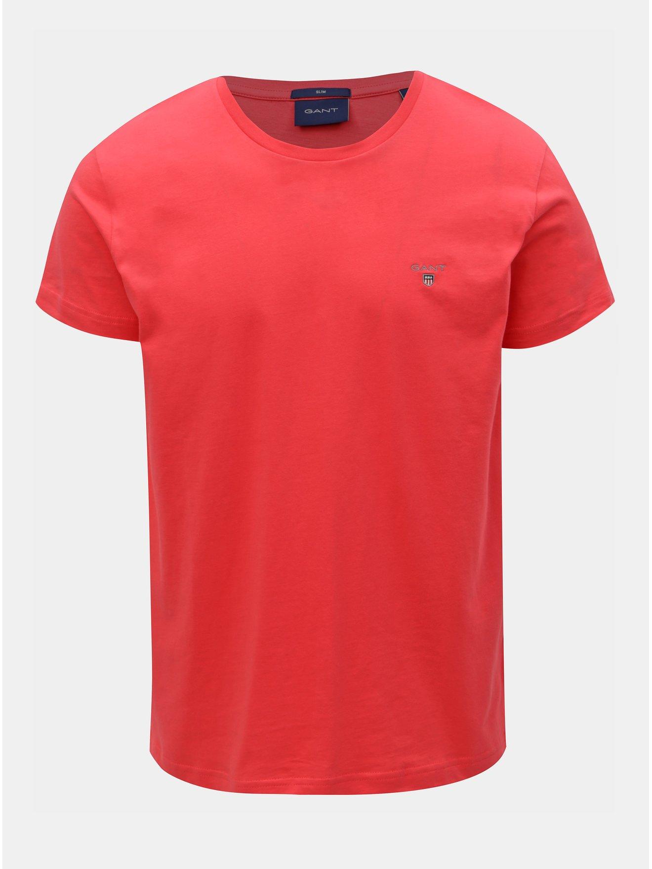 0129244e56ca Tmavě růžové pánské slim tričko GANT